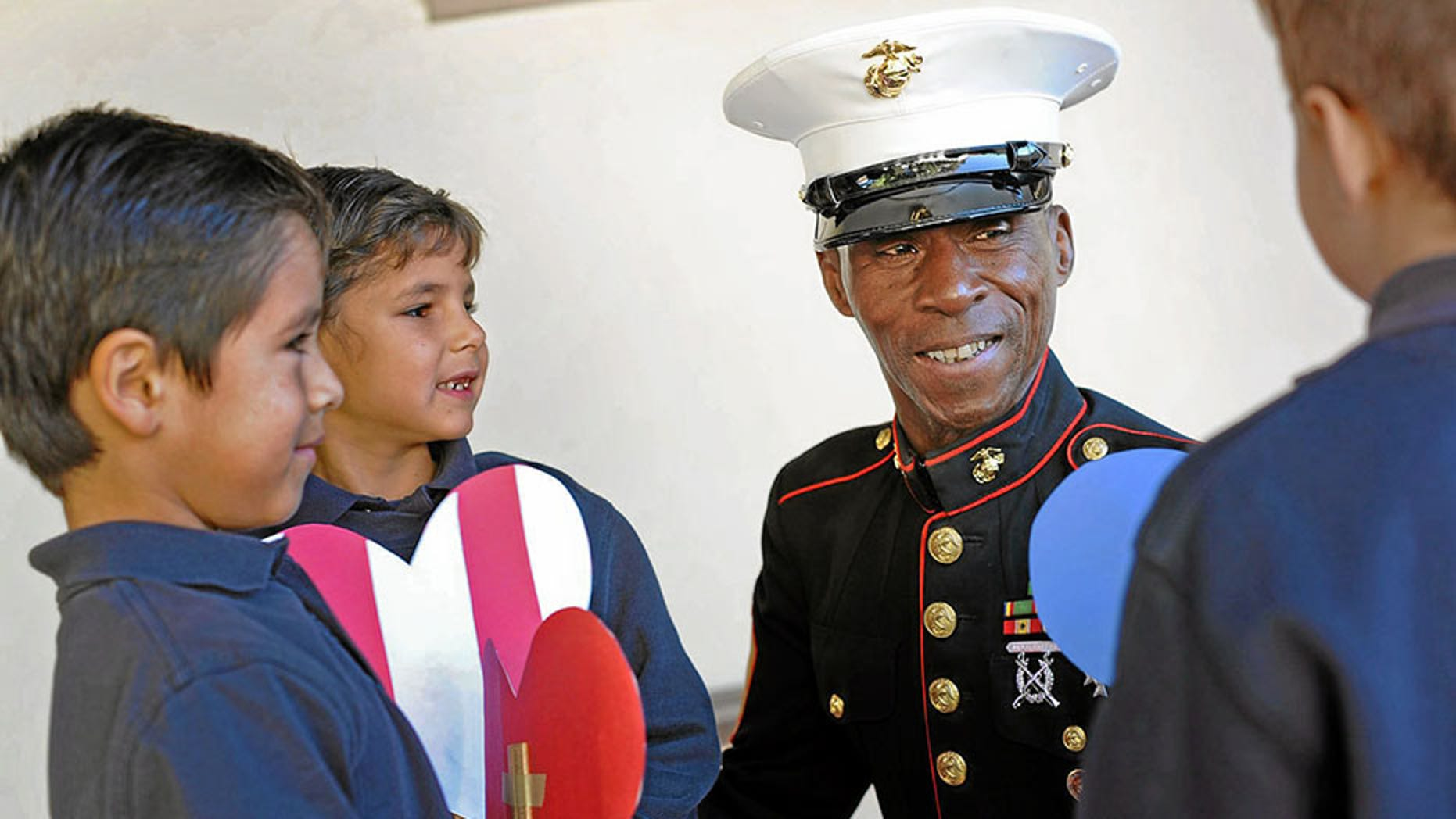 """Retired Marine Ernie """"Gunny"""" Napper for years personally thanked vets for their service as part of Disneyland's daily Flag Retreat Ceremony until recently."""