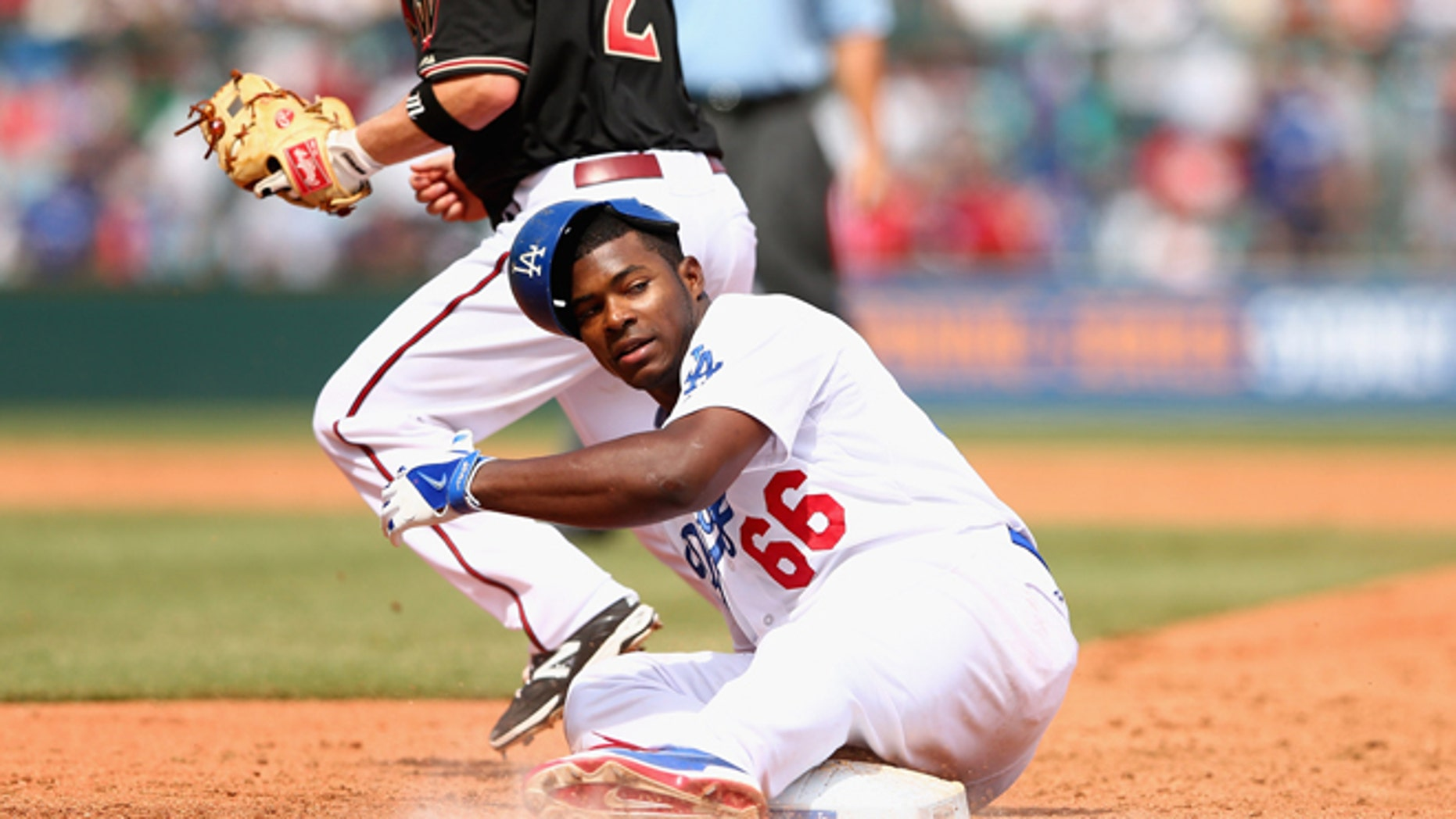 Yasiel Puig of the Dodgers on March 23, 2014 in Sydney, Australia.