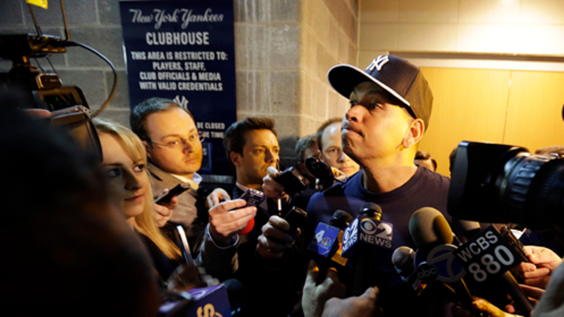 New York Yankees' Alex Rodriguez listens to a question form the media before an opening day a baseball game against the Boston Red Sox, Monday, April 1, 2013, in New York. (AP Photo/Matt Slocum)