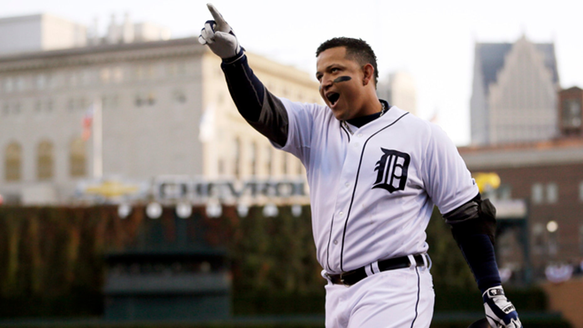 Oct. 18, 2012: In this file photo, Detroit Tigers' Miguel Cabrera celebrates after hitting a two-run home run during the fourth inning of Game 4 of the American League championship series against the New York Yankees in Detroit.
