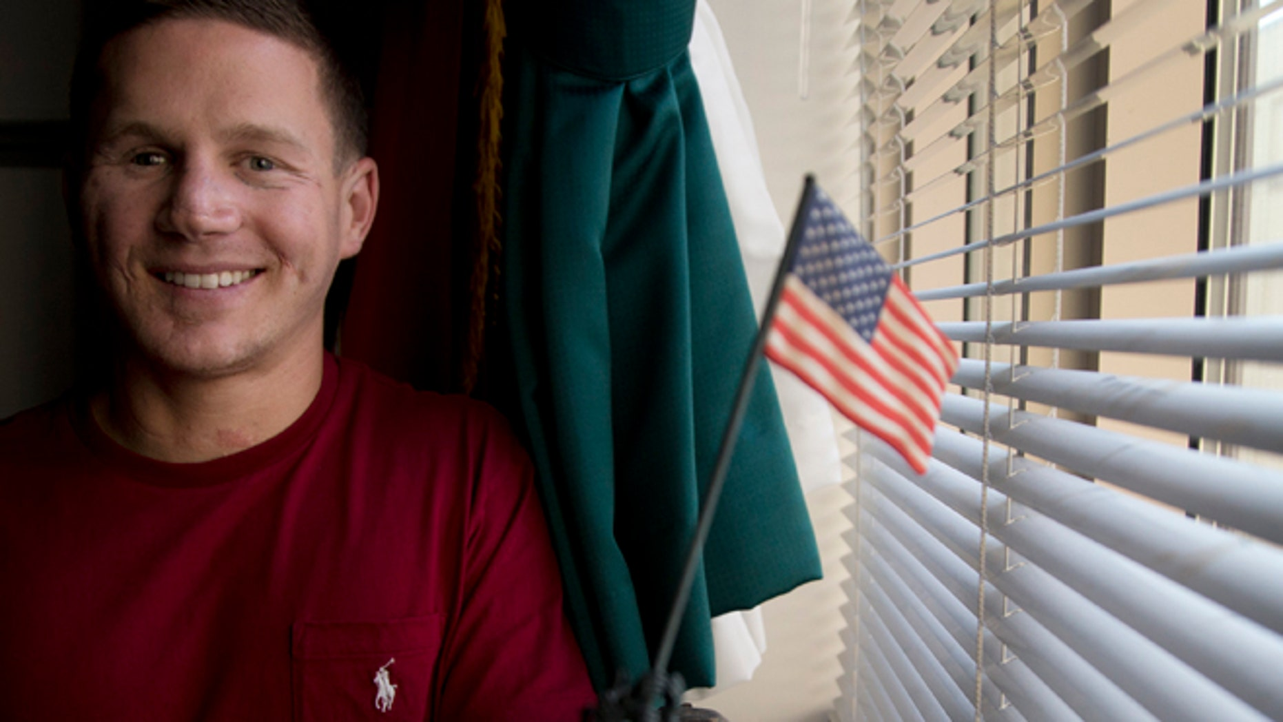 May 13, 2014: Medically retired Marine Lance Cpl. Kyle Carpenter speaks to media at the Pentagon.
