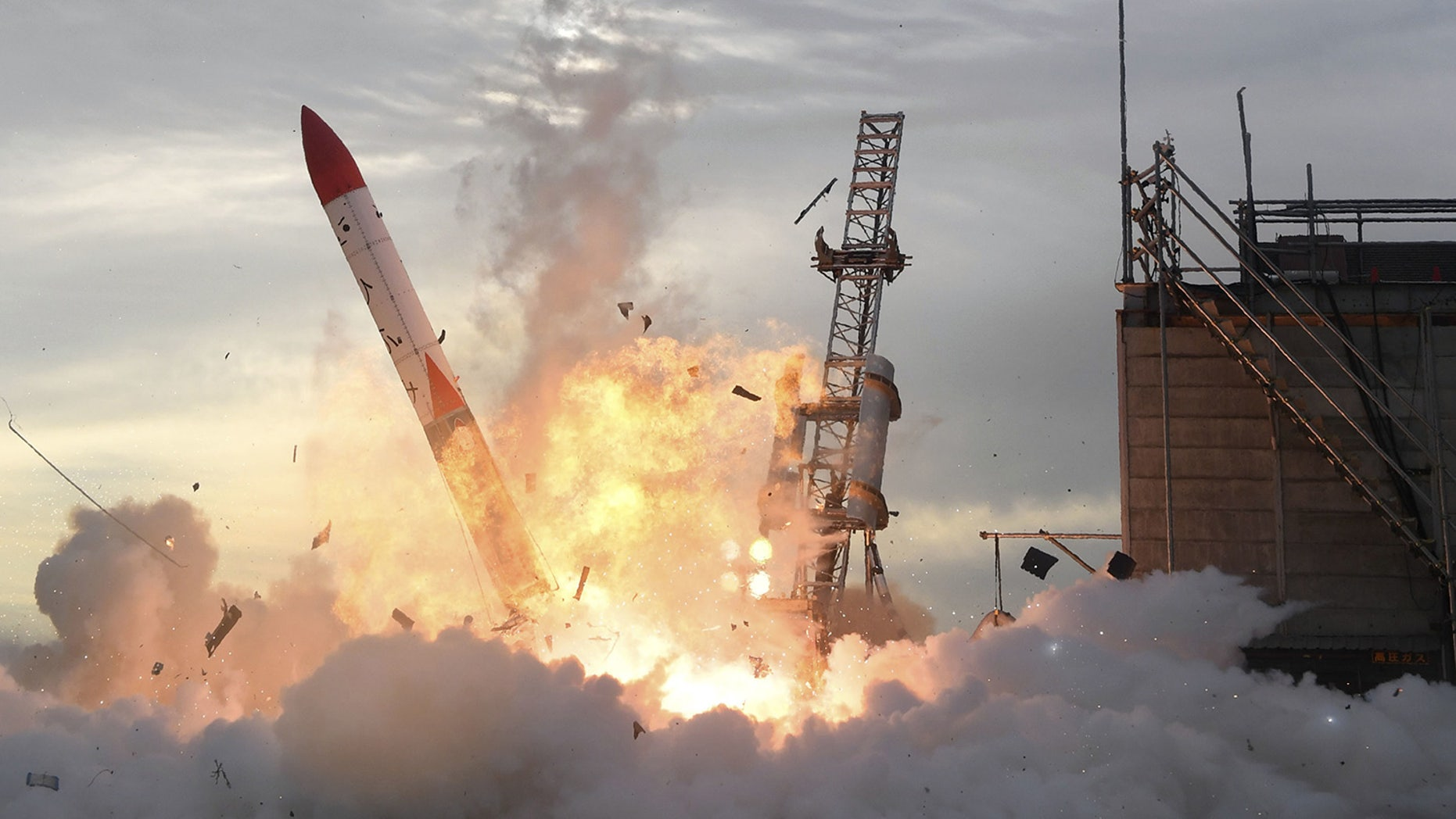 A private Japanese rocket bursts into flames as it crashes to Earth after a failed launch attempt in Taiki, a town on Japan's northernmost island of Hokkaido, on June 30, 2018. The rocket, Momo-2, would have been the first privately built Japanese rocket to reach outer space.