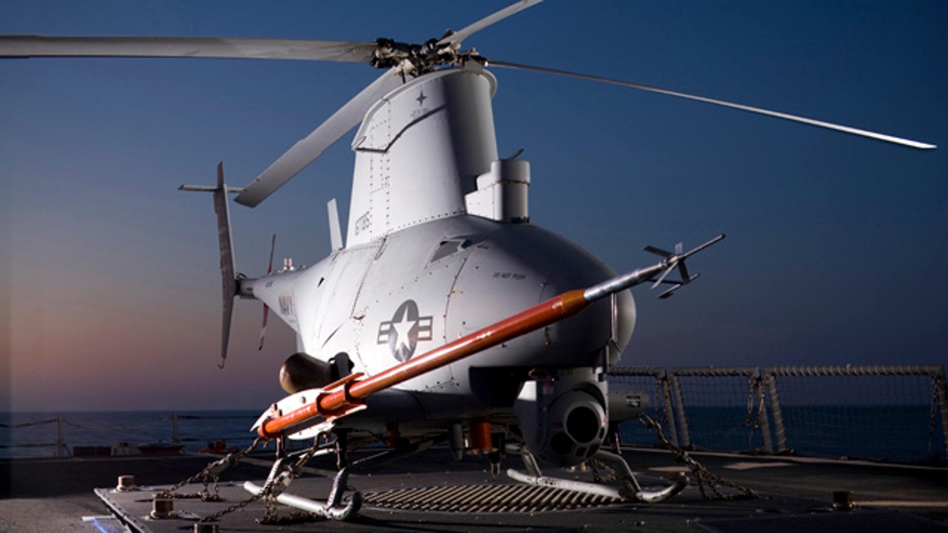 An MQ-8B Fire Scout onboard the USS McInerney.