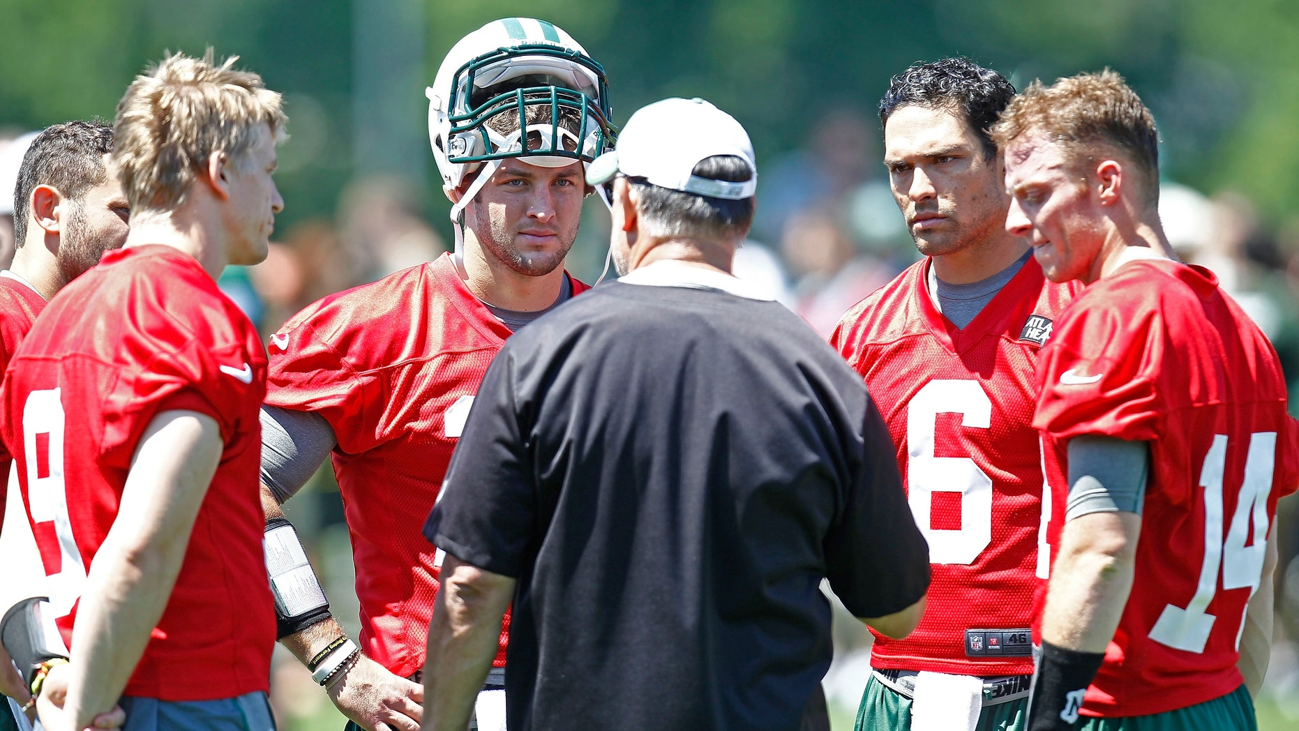 at an organized team activity at the New York Jets practice facility on May 24, 2012 in Florham Park, New Jersey.