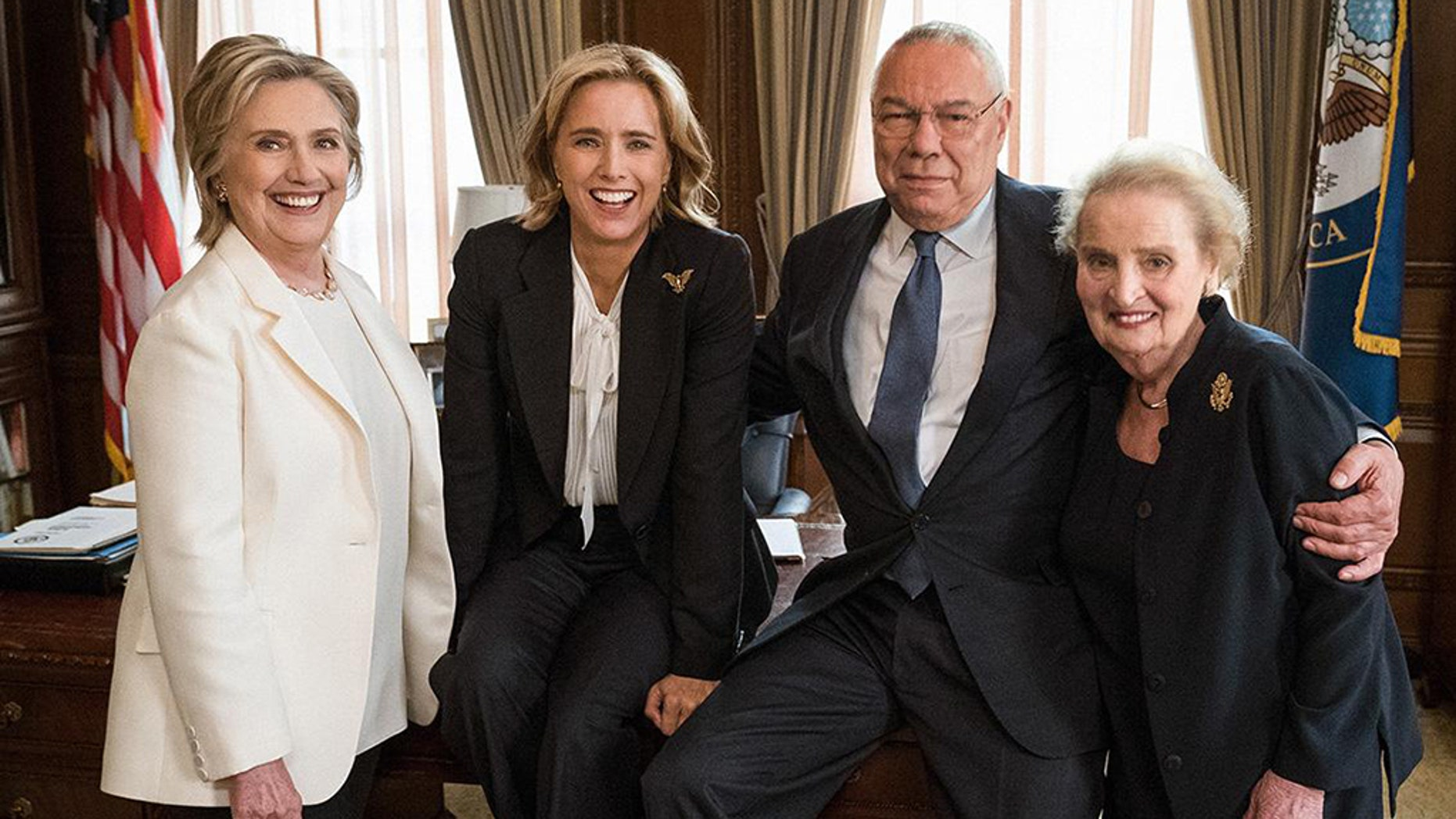 "Hillary Clinton, Colin Powell and Madeleine Albright with ""Madam Secretary"" star Téa Leoni."