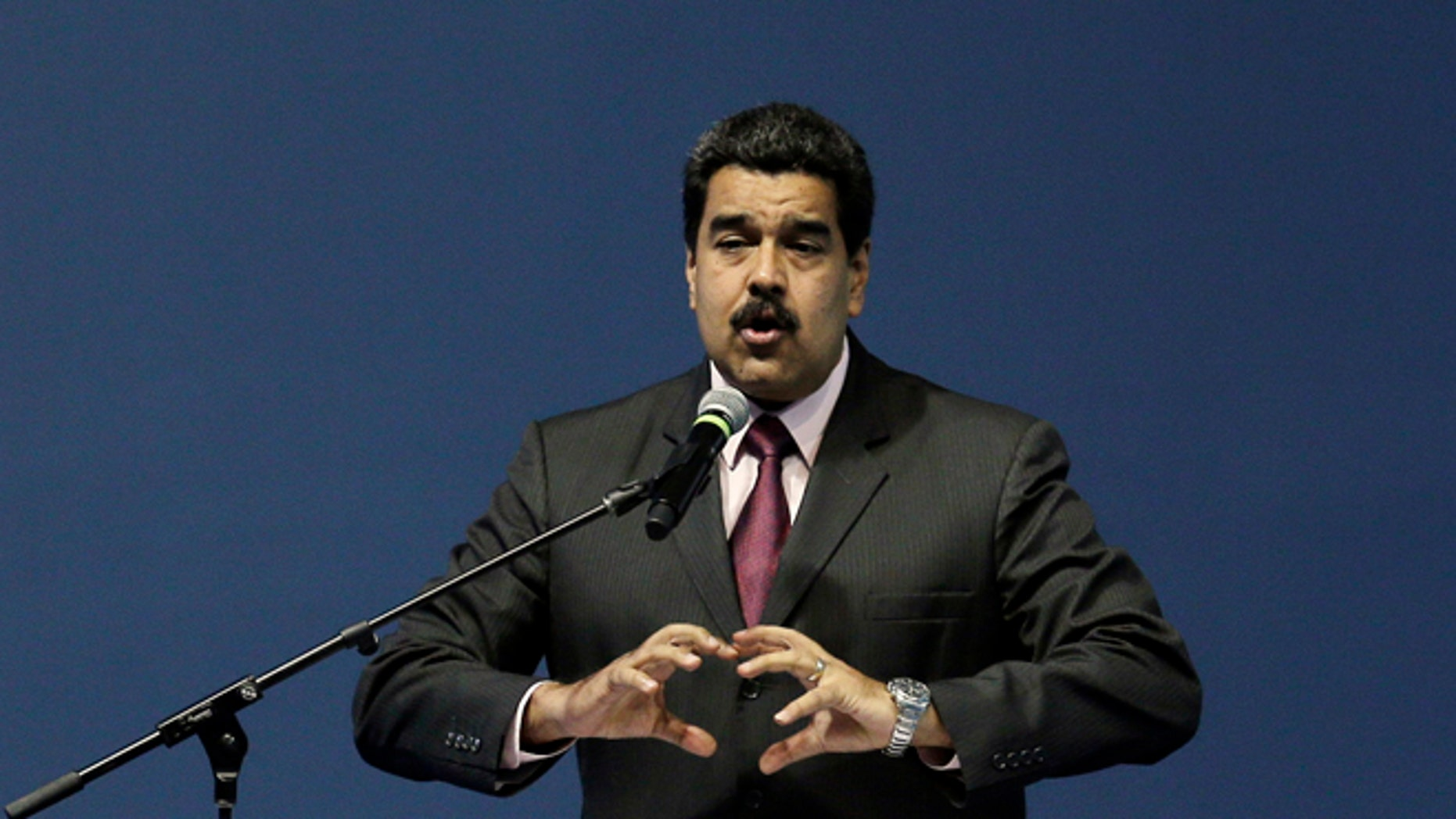 Venezuela's President Maduro during the opening of the third United Nations Habitat Conference, in Quito, Ecuador, Oct. 17, 2016.