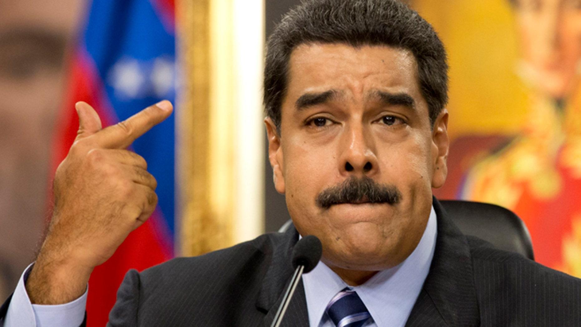 Venezuela's President Maduro at the Miraflores presidential palace in Caracas, Venezuela, Tuesday, May 17, 2016.
