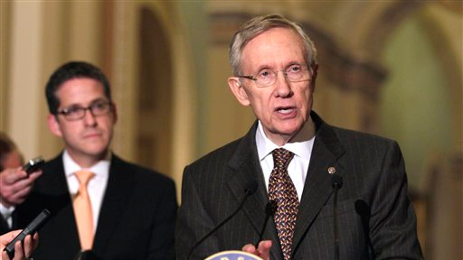 April 12: Senate Majority Leader Harry Reid of Nev. speaks to media on Capitol Hill in Washington.