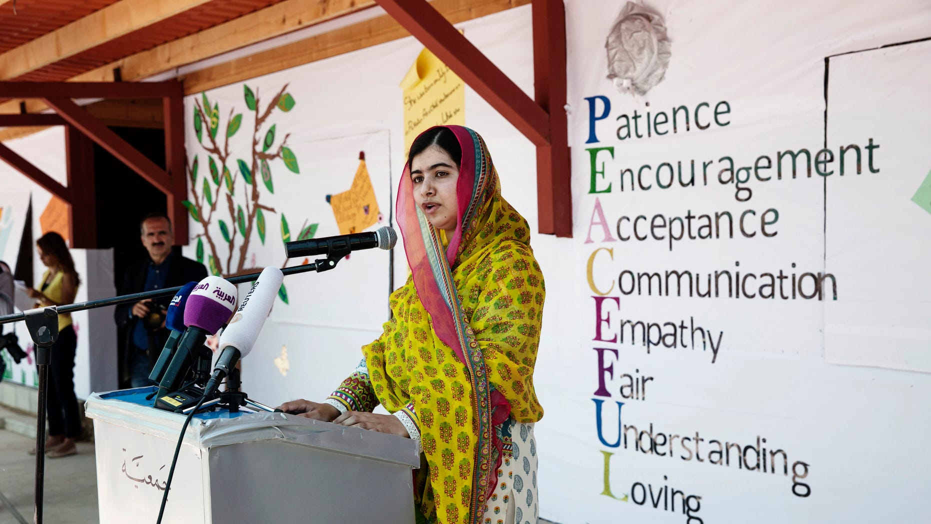 "July 12, 2015 - Nobel Peace Prize winner Malala Yousafzai speaks during her visit to Bekaa Valley, east Lebanon. Yousafzai urged wealthy countries do more to help desperate Syrian war refugees, calling them ""quite stingy."""
