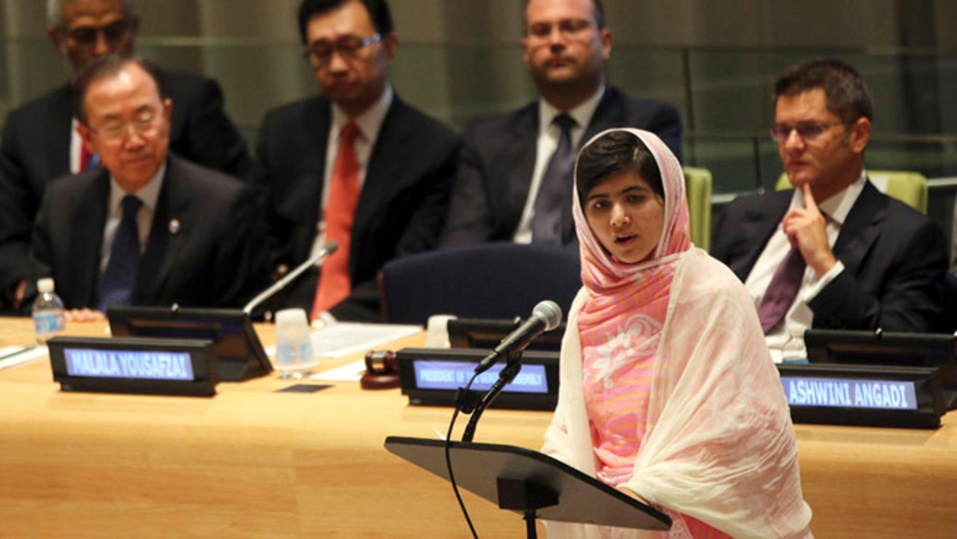 July 12, 2013: United Nations Secretary-General Ban Ki-moon, left, listens as  Malala Yousafzai, right, addresses the Malala Day Youth Assembly at United Nations headquarters.