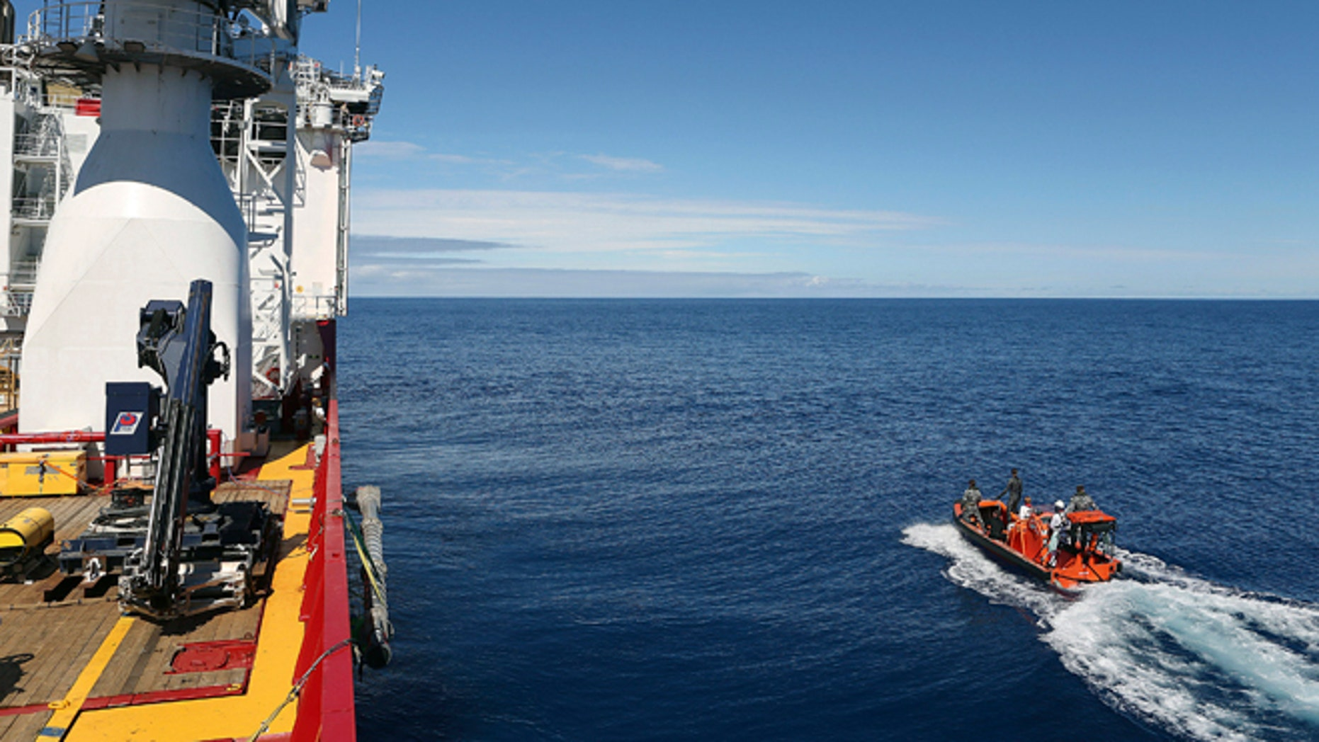 In this April 7, 2014 photo provided by the Australian Defense Force a fast response craft manned by members ofthe Australian Defense's ship Ocean Shield is deployed to scan the water for debris of the missing Malaysia Airlines Flight 370 in the southern Indian Ocean. Up to 14 planes and as many ships were focusing on a single search area covering 77, 580 square kilometers (29,954 square miles) of ocean, 2,270 kilometers (1,400 miles) northwest of the Australian west coast city of Perth, Australia. (AP Photo/Australian Defense Force, LSIS Bradley Darvill) EDITORIAL USE ONLY