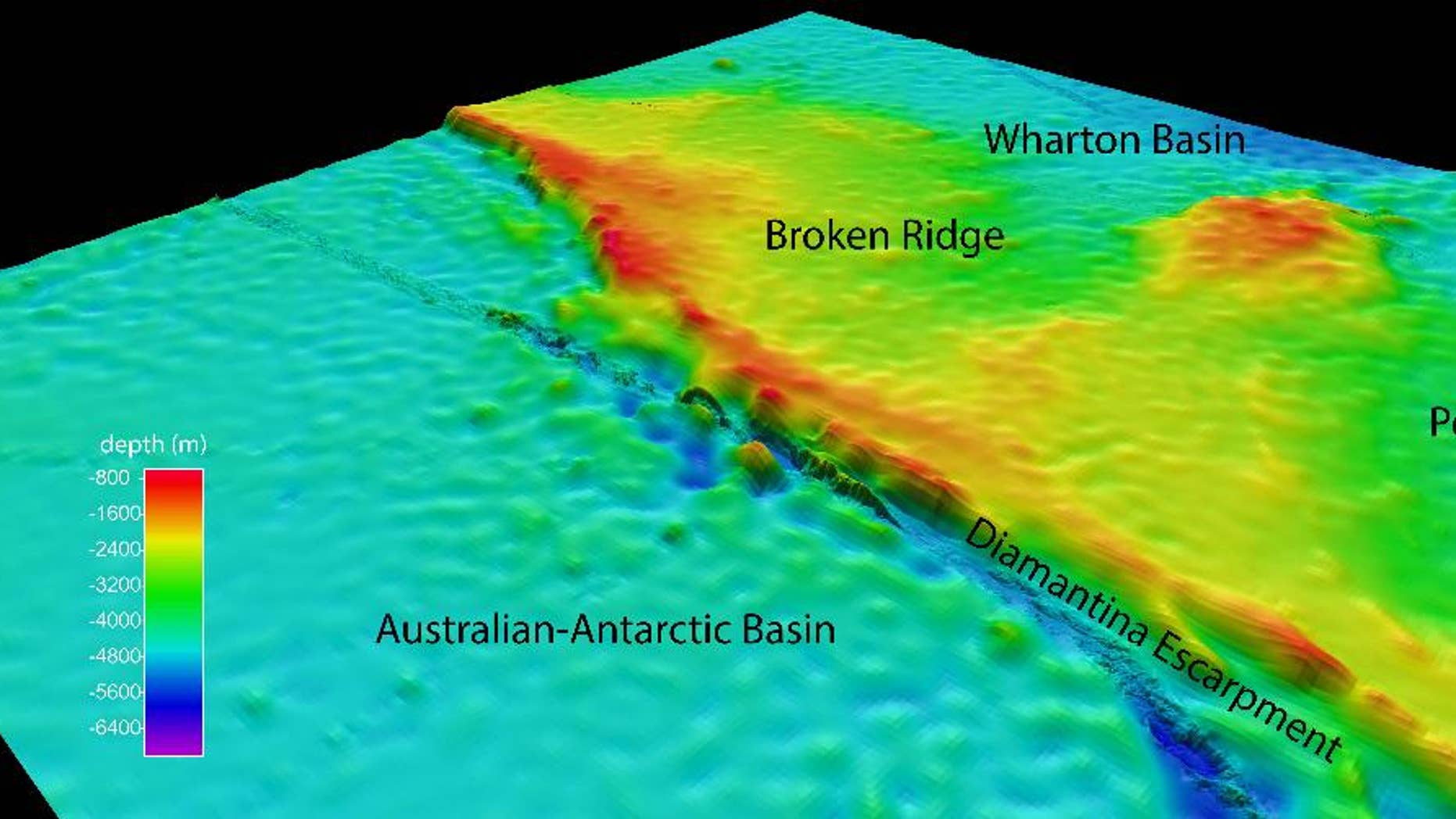 This undated graphic provided by Commonwealth of Australia (Geoscience Australia) Dr. Robin Beaman, James Cook University, shows the North-westerly view of the search area for the missing Malaysian Airlines Flight 370 at Broken Ridge, south-eastern Indian Ocean, which shows the Diamantina Escarpment dropping from about 800 meters to over 5000 meters in depth. Two miles under the sea where satellites and planes are looking for debris from the missing Malaysian jet, the ocean floor is cold, dark, covered in a squishy muck of dead plankton and - in a potential break for the search - mostly flat. The troubling exception is a steep, rocky drop ending in a deep trench. The sea floor in this swath of the Indian Ocean is dominated by a substantial underwater plateau known as Broken Ridge, where the geography would probably not hinder efforts to find the main body of the jet that disappeared with 239 people on board three weeks ago, according to seabed experts who have studied the area. (AP Photo/Commonwealth of Australia (Geoscience Australia) Dr Robin Beaman, James Cook University)