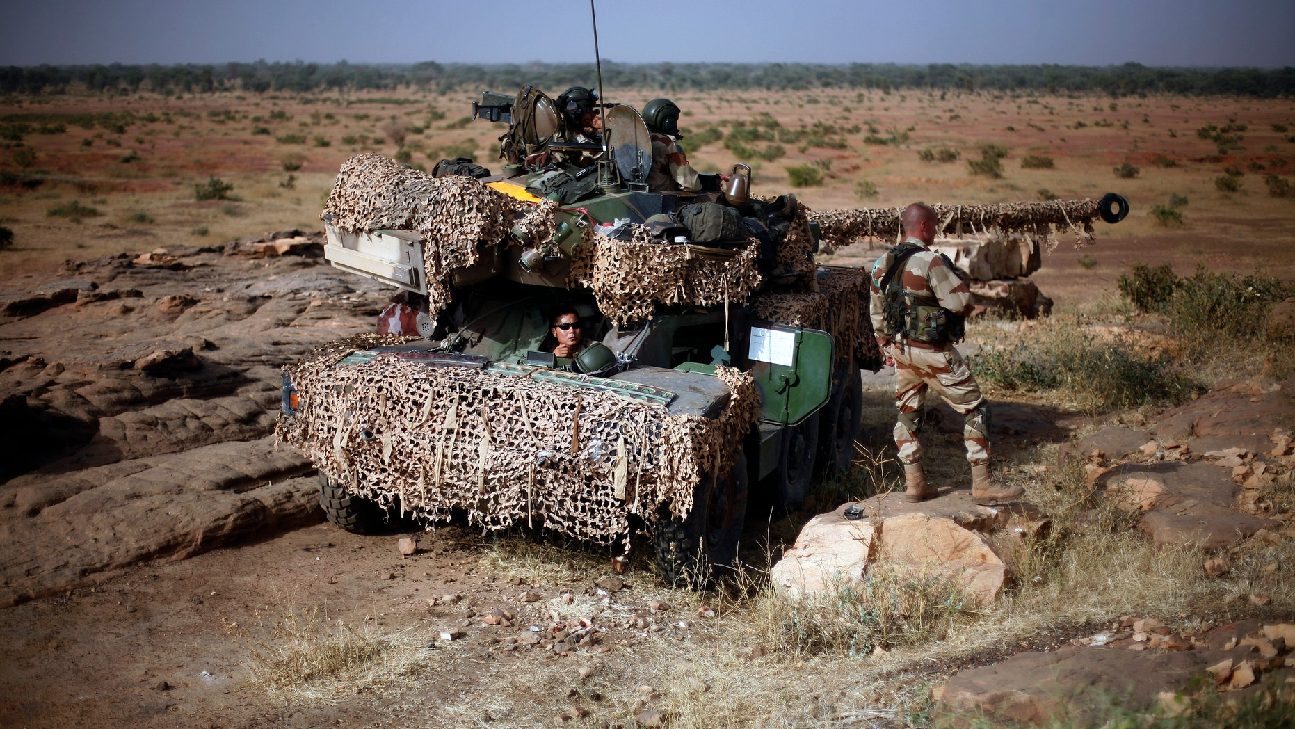 Jan. 24, 2013 - French soldiers man a tank at an observation post outside Sevare, some 400 miles north of Mali's capital Bamako.