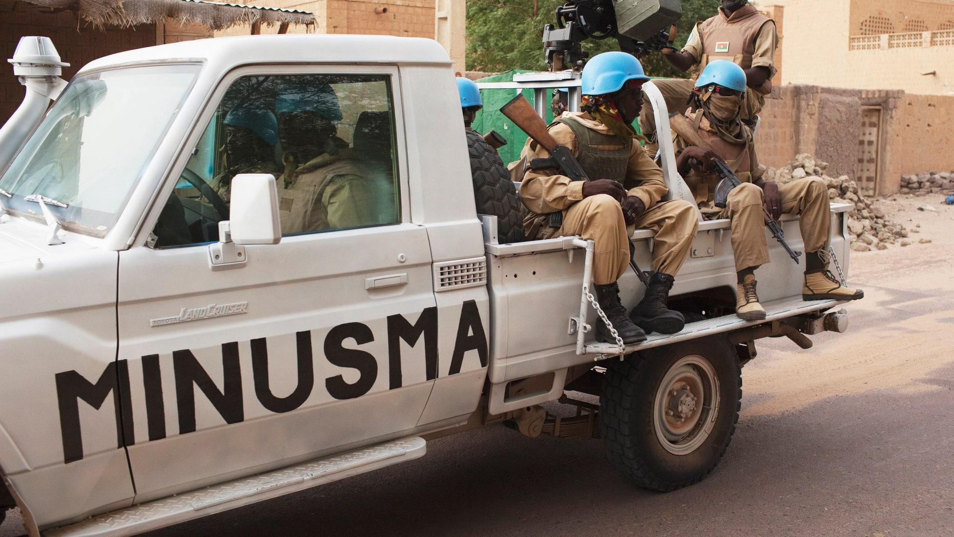 July 28, 2013 - FILE photo of UN peacekeepers from a Burkina Faso patrol in Timbuktu, Mali.