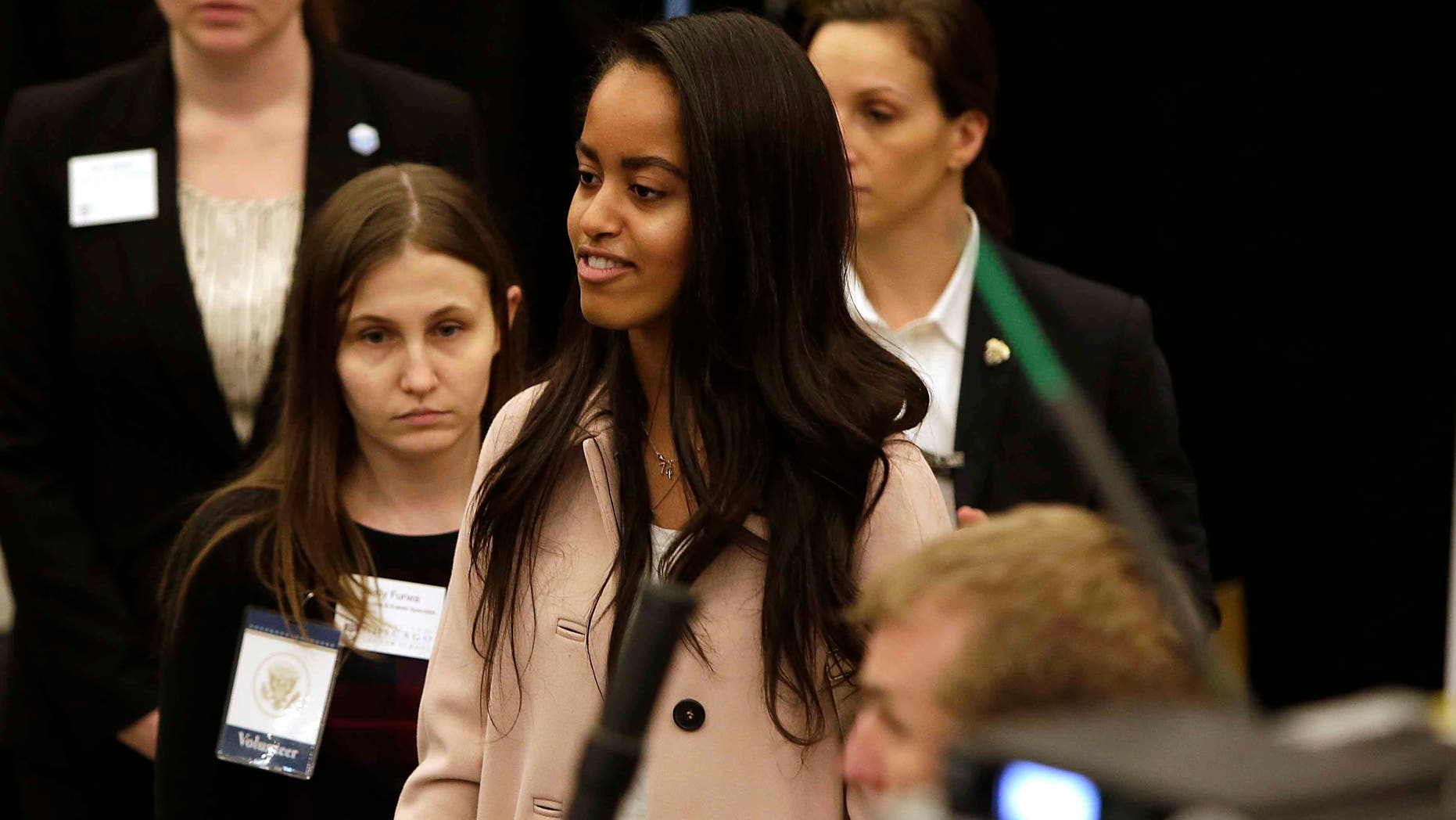 Malia Obama at the University of Chicago Law School on April 7, 2016 in Chicago, Illinois.