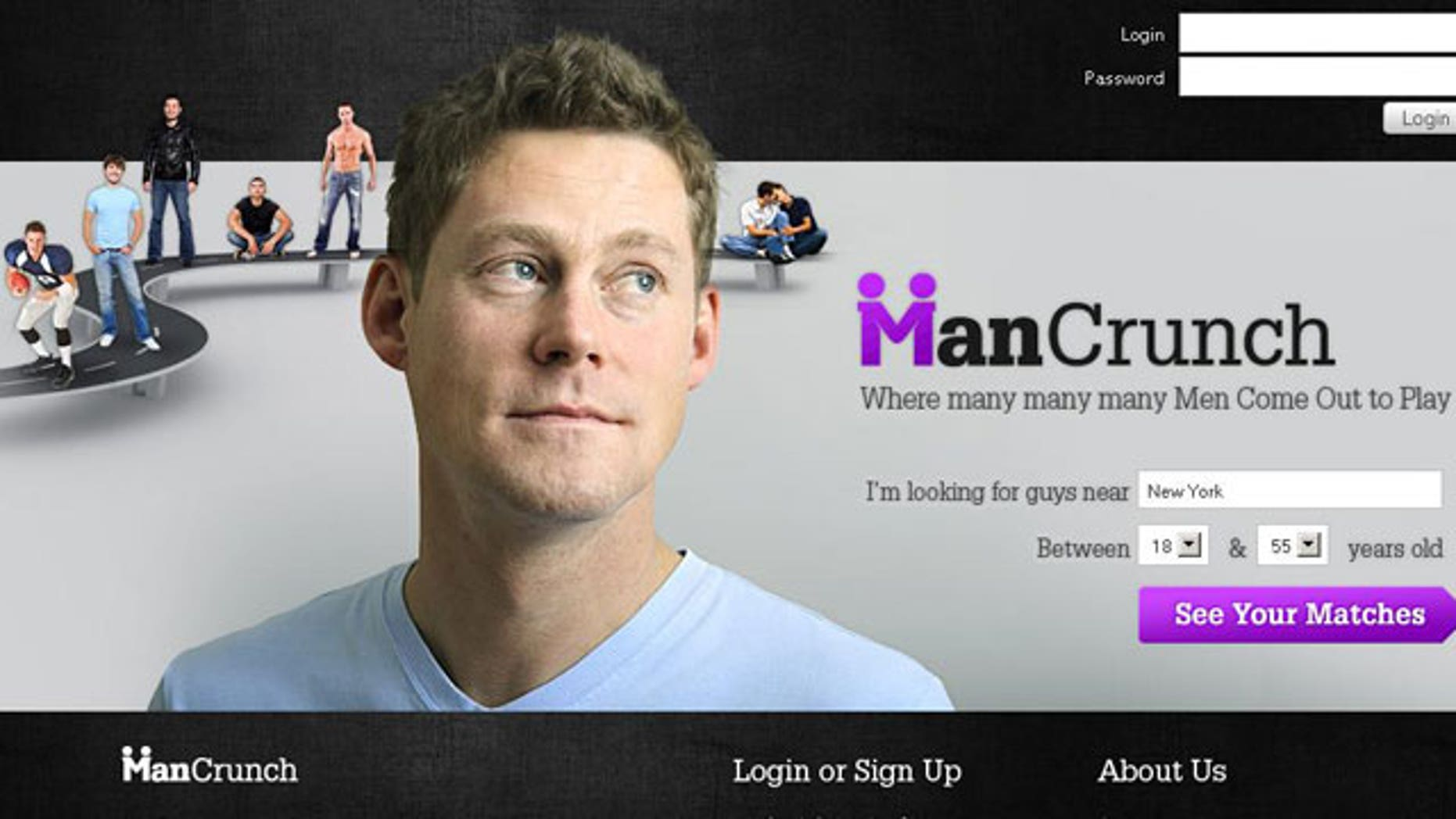 """A screen grab from ManCrunch.com's home page shows the site's slogan, """"Where many, many, many men come out to play."""""""