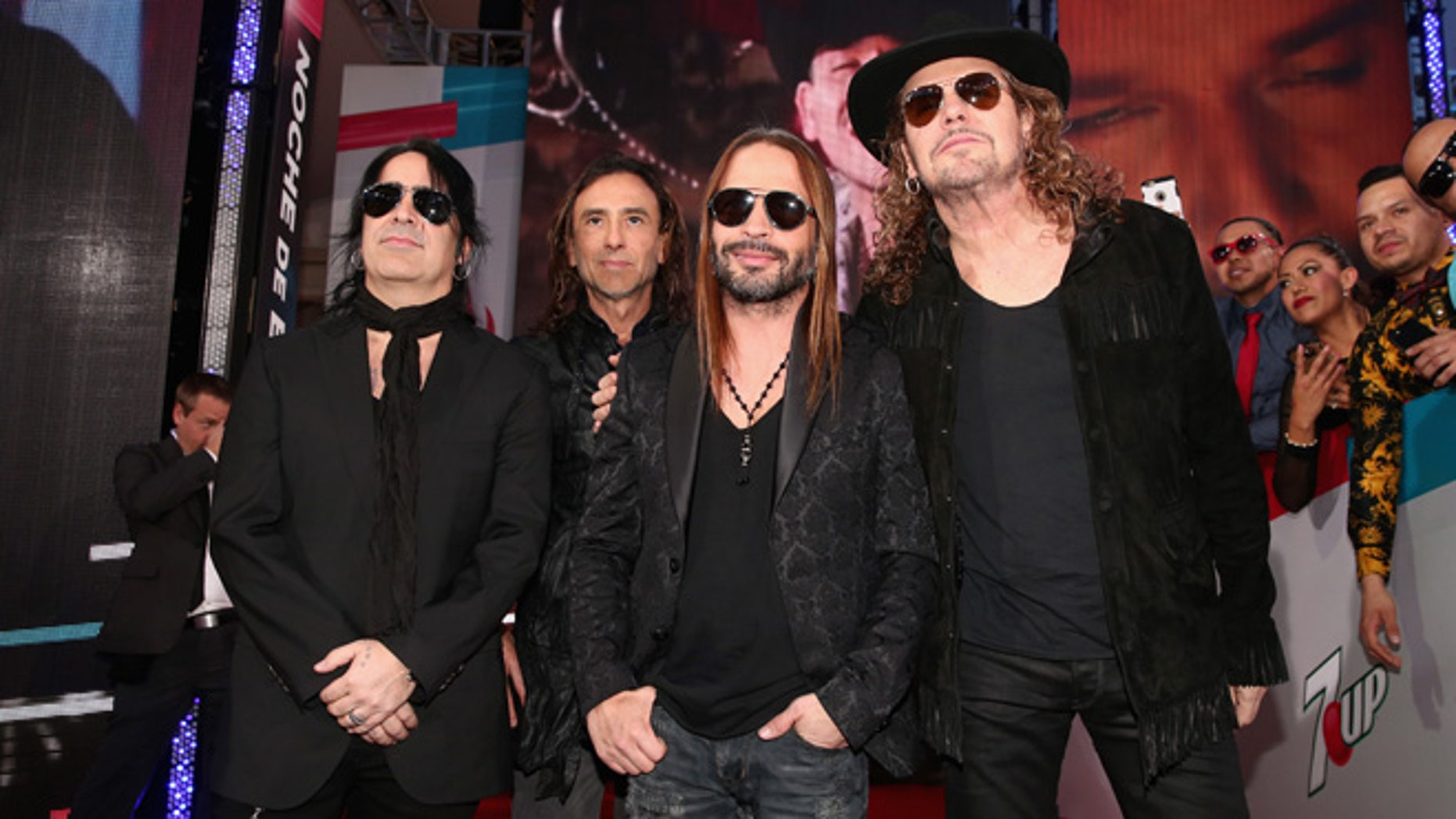 Alex Gonzalez, Juan Calleros, Sergio Vallin and Fher Olvera of Mana on November 19, 2015 in Las Vegas.