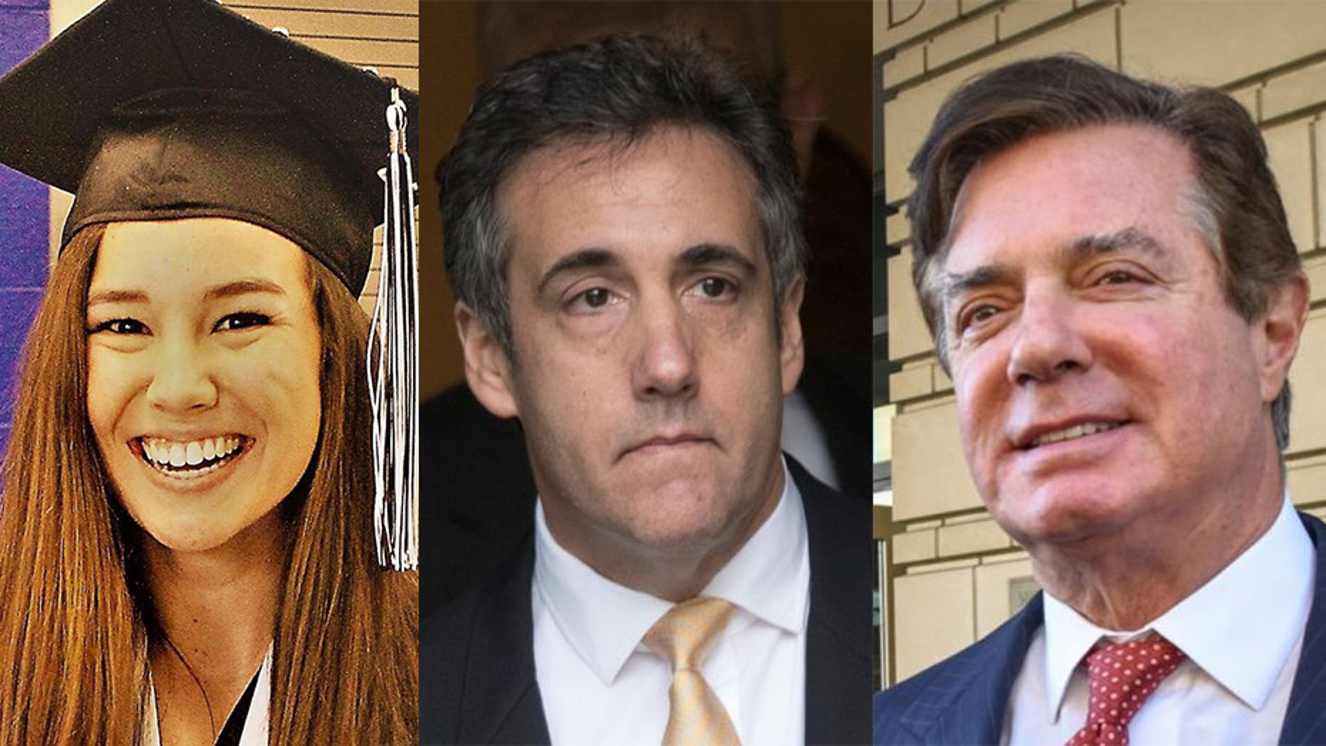 Former House Speaker Newt Gingrich says the murder of Iowa student Mollie Tibbetts (left) is more important than the convictions of Trump associates Michael Cohen (middle) and Paul Manafort (right).
