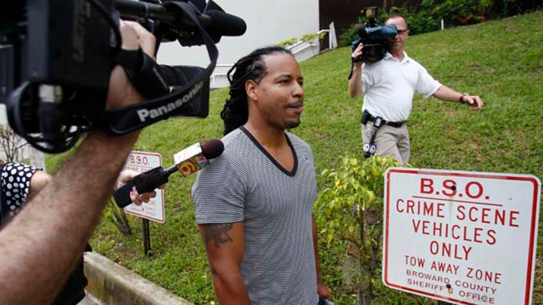 Former World Series MVP  Manny Ramirez leaves the Broward County Jail in Ft. Lauderdale, Fla., Tuesday, Sept. 13, 2011. Ramirez was released from jail after authorities arrested him for allegedly slapping his wife during a dispute at their South Florida home. (AP Photo/Hans Deryk)