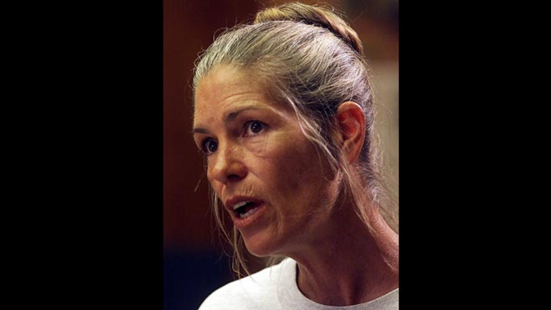Leslie Van Houten speaks during her parole hearing in this June 28, 2002, file photo taken at the California Institution for Women in Corona, Calif. 44 years after she went to prison.