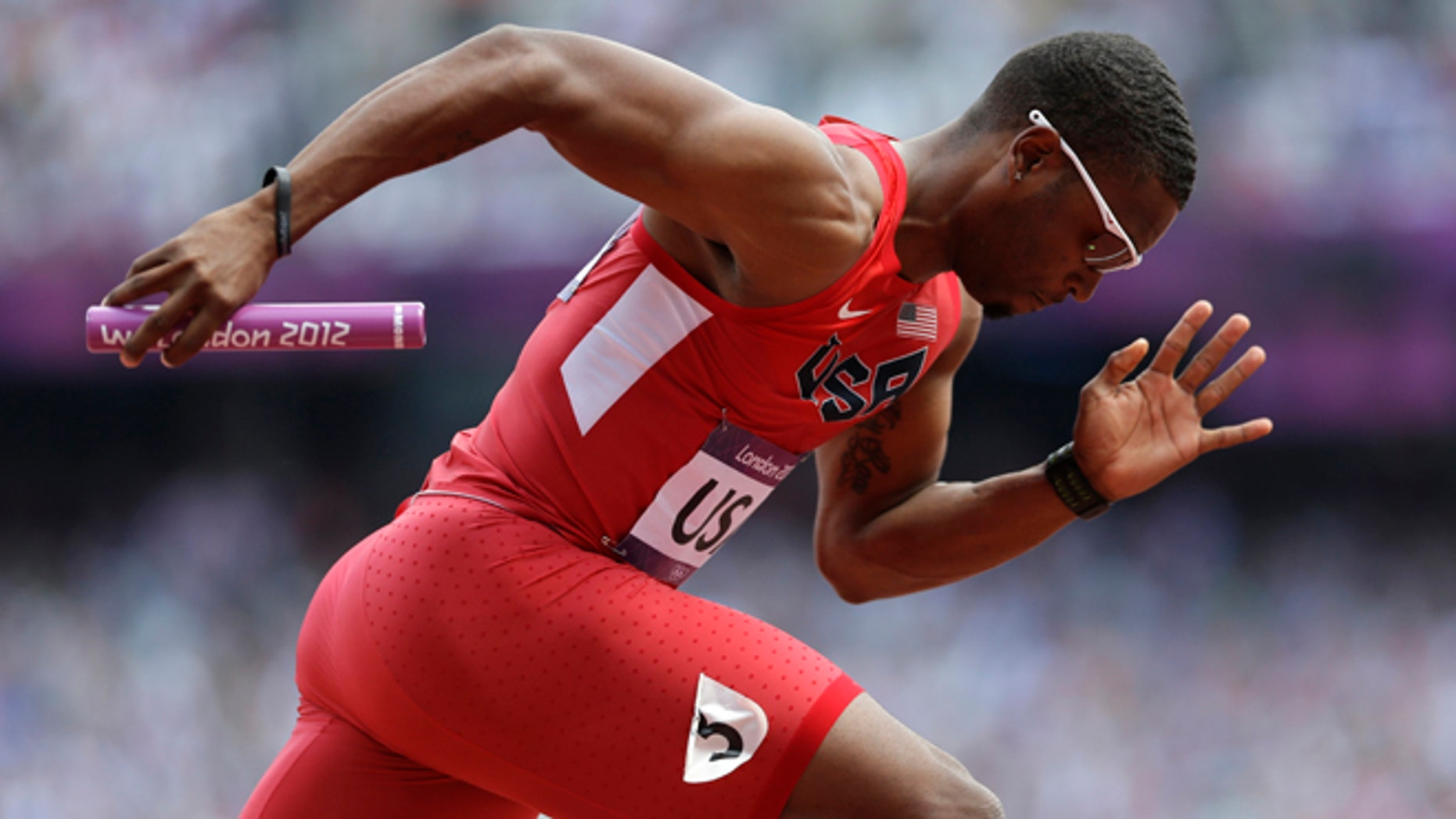 Aug. 9, 2012: United States' Manteo Mitchell competes in a 4x400-meter relay heat at the London Olympics.