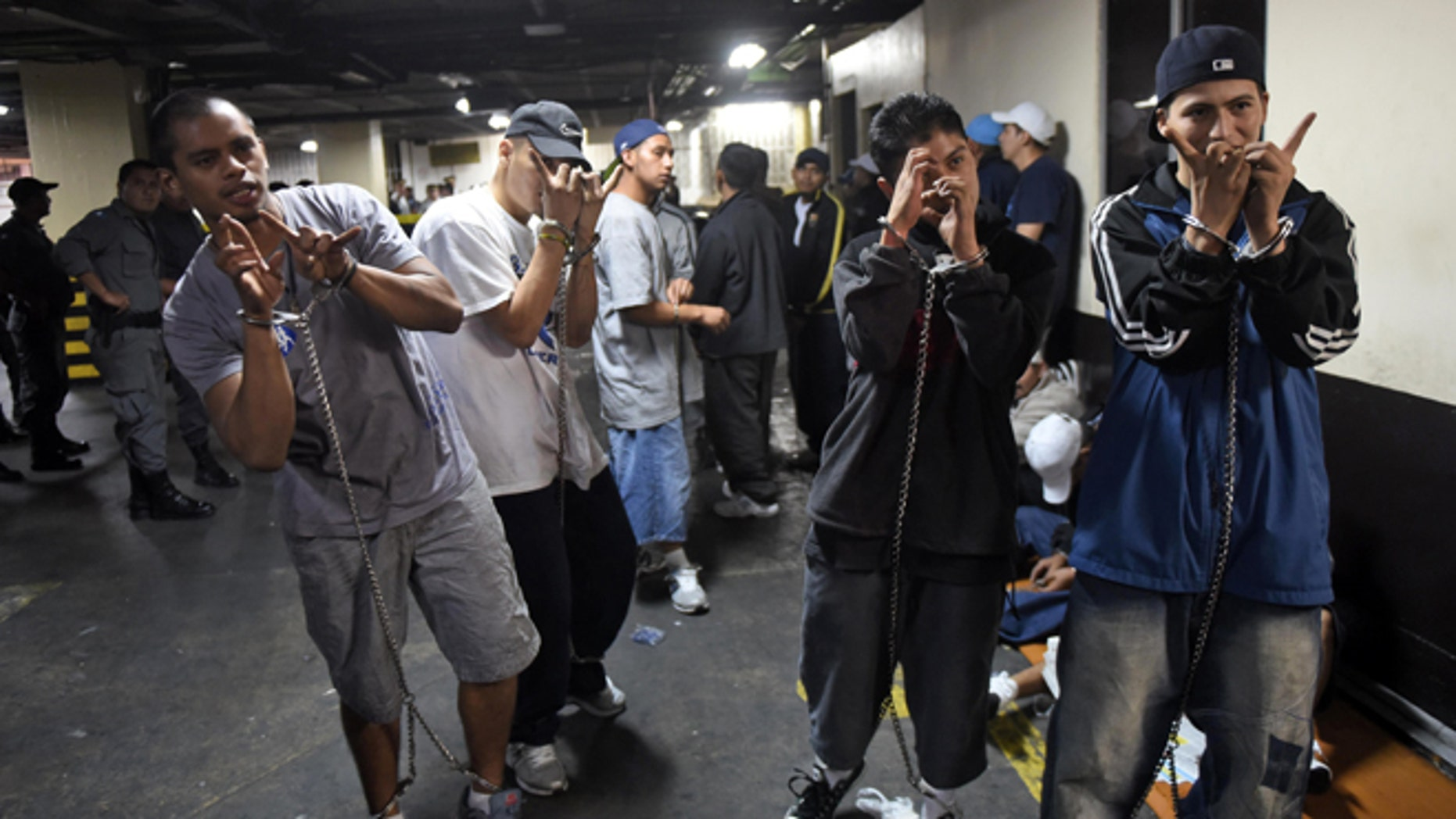 """Members of the """"Mara Salvatrucha"""" gang gesture whilst kept in restraints in court. (Photo credit should read JOHAN ORDONEZ/AFP/Getty Images)"""