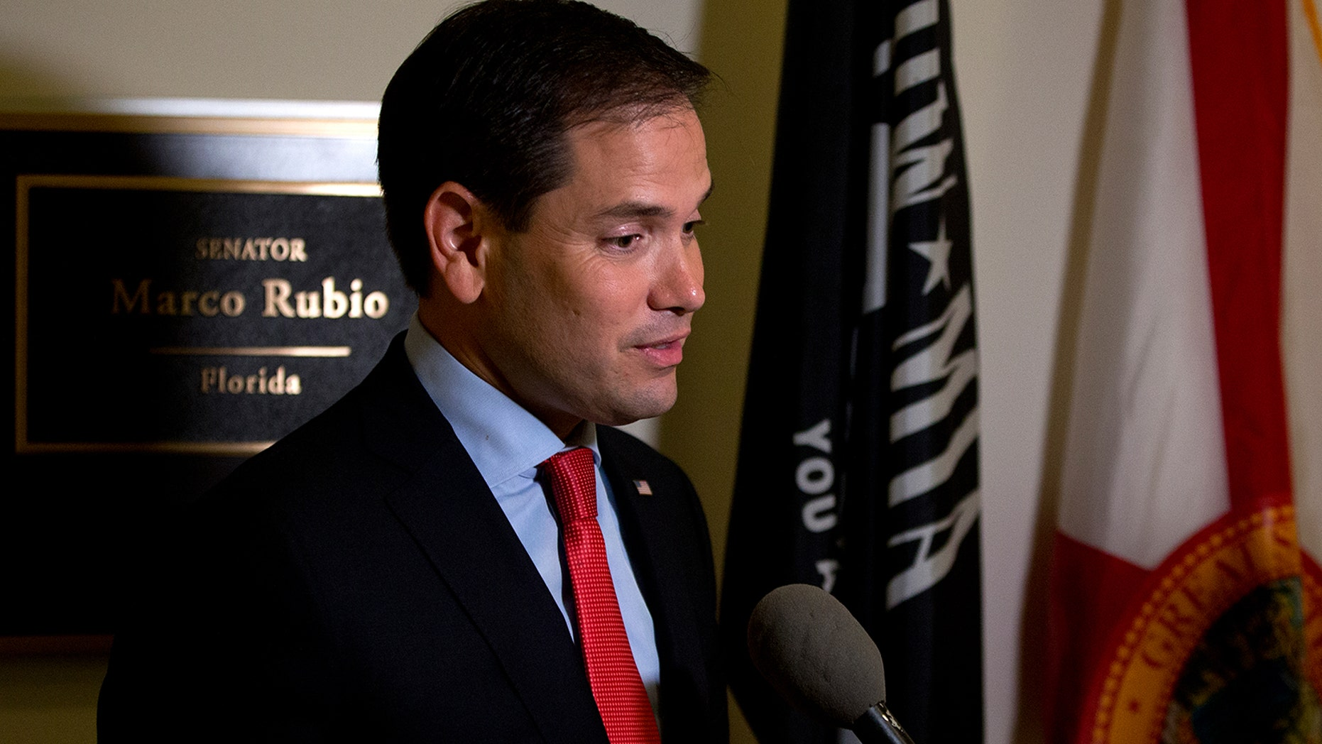 Sen. Marco Rubio outside his office on Capitol Hill in Washington, Wednesday, June 22, 2016.