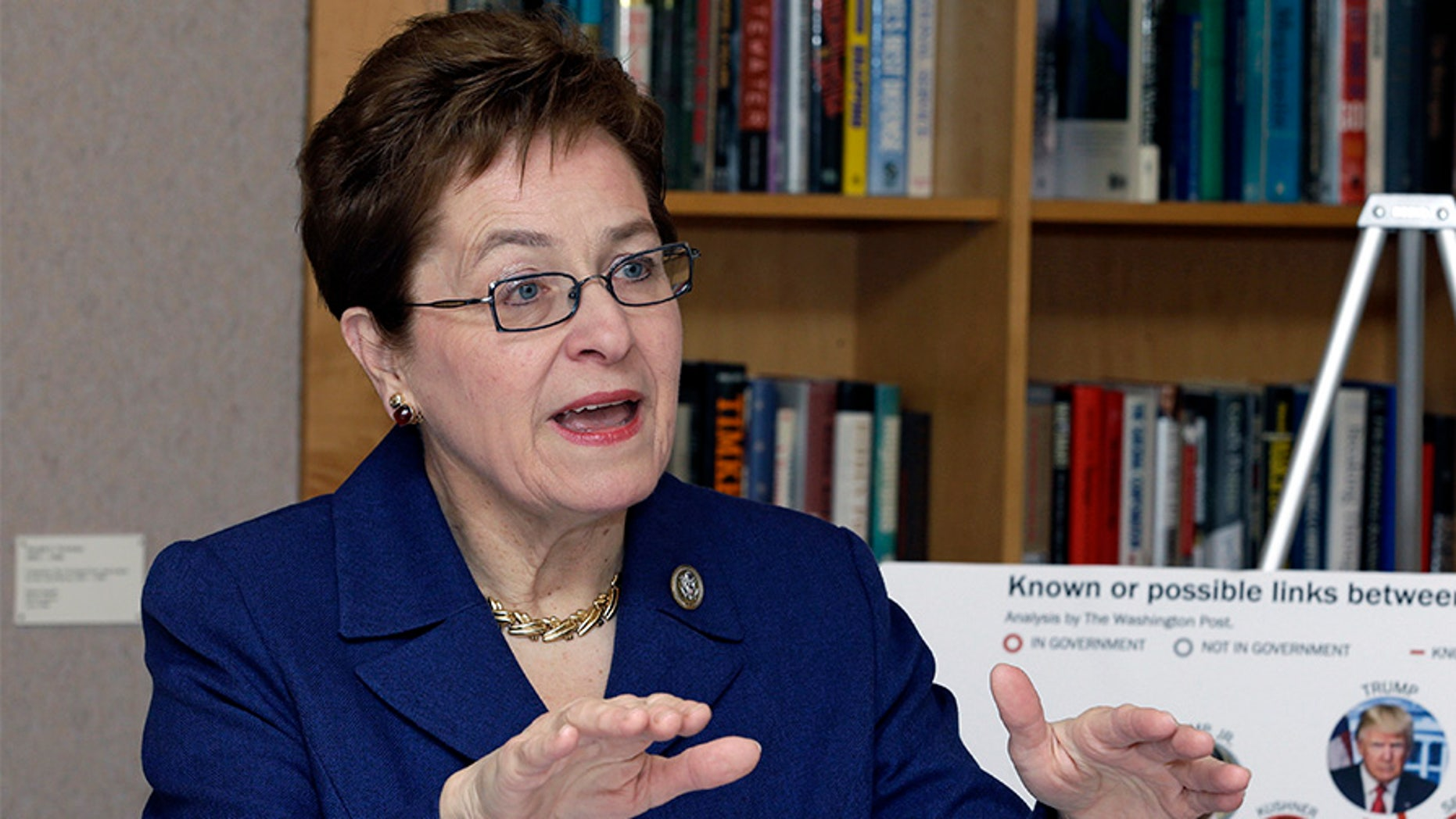Rep. Marcy Kaptur, D-Ohio, speaks during a press conference Monday, March 6, 2017