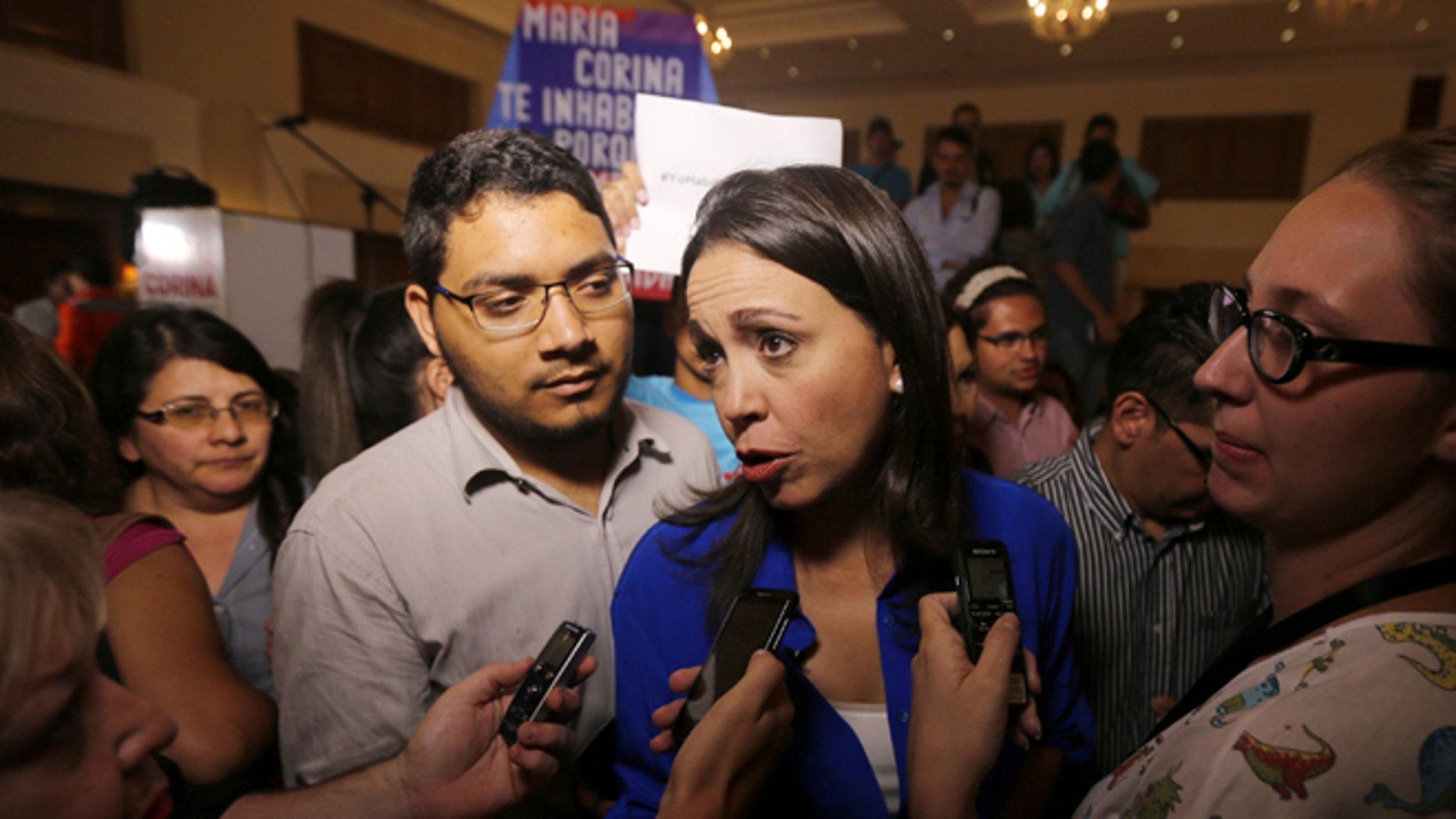Opposition leader and former Congresswoman Maria Corina Machado in Caracas, Venezuela, Wednesday, July 15, 2015.