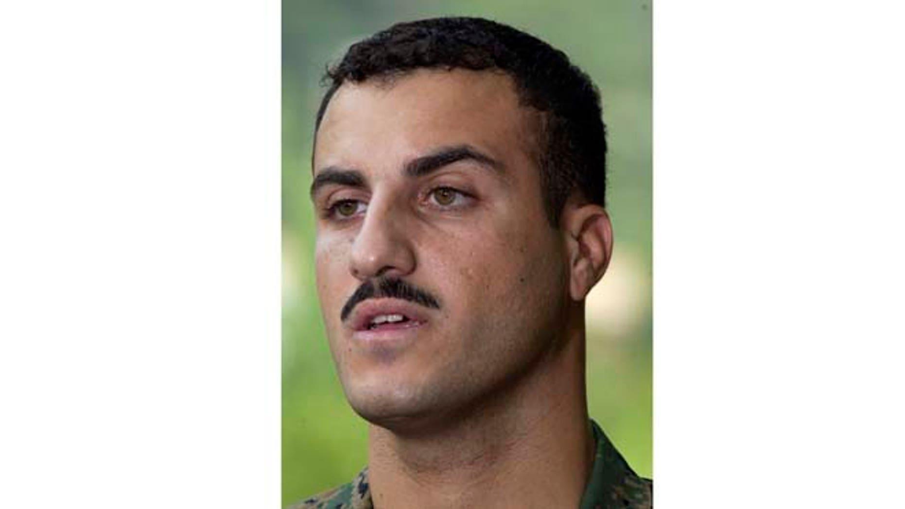 July 19, 200: In this file photo, Marine Cpl. Wassef Ali Hassoun makes a statement to the press outside Quantico Marine Base in Quantico, Va. (AP)