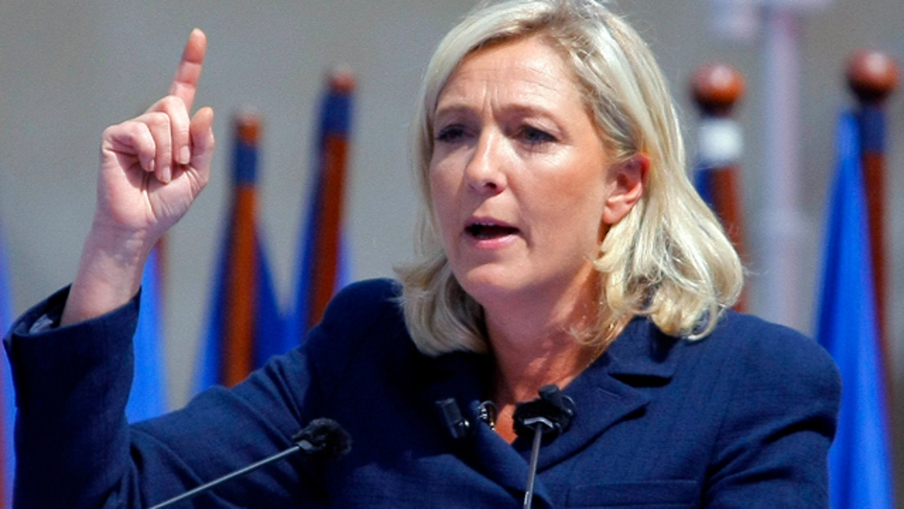 May 1, 2011: France's far-right National Front political leader Marine Le Pen delivers a speech.