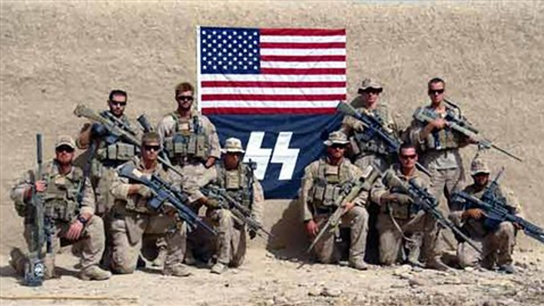 This Sept. 2010 photo posted recently on the Titiusville, Florida-based arms manufacturer Knight's Armament's Internet blog, shows members of Charlie Company, 1st Reconnaissance Battalion, out of Camp Pendleton, Calif. in Sangin, Helmand province, Afghanistan.