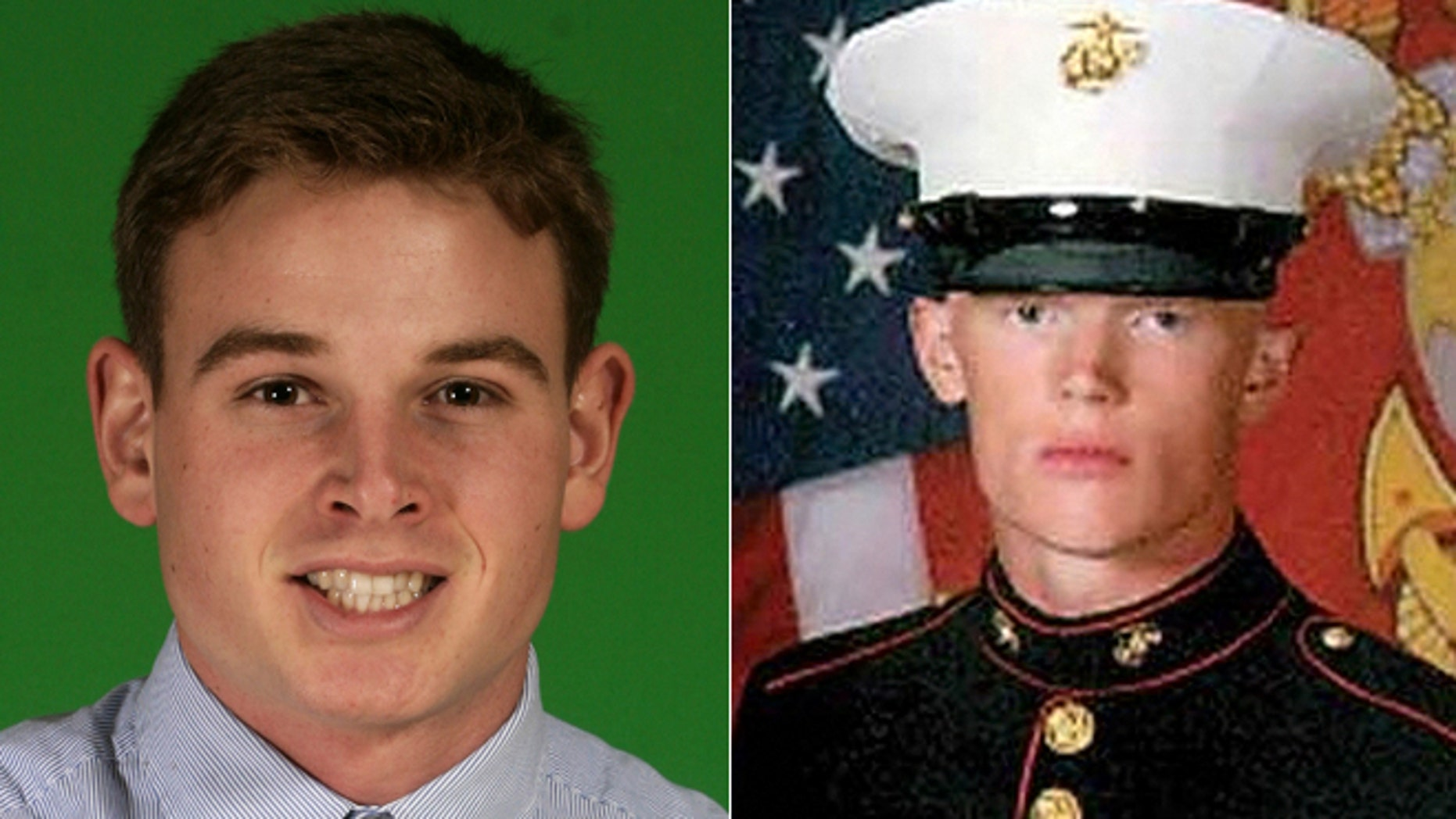 Marine Roger Muchnick, left, and Lance Cpl. Josh Taylor were identified as two victims from a depot explosion.