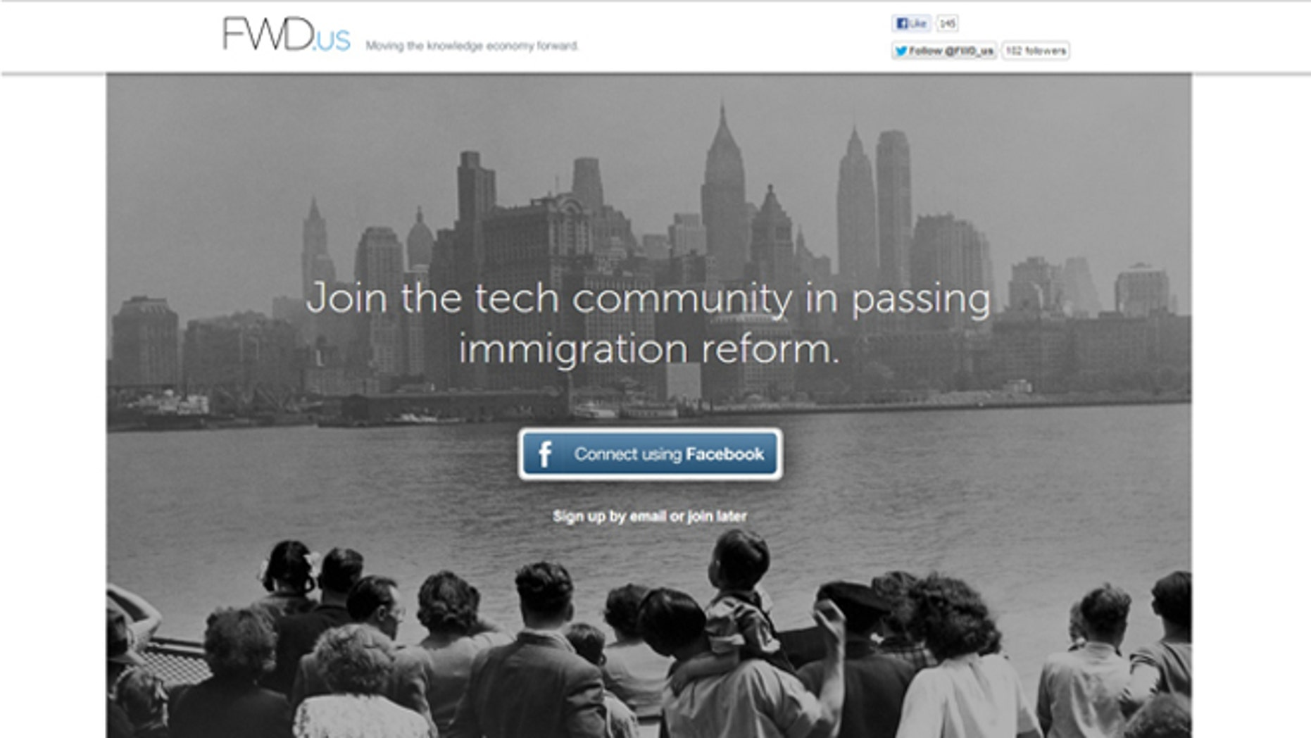 Apr. 11, 2013: A screenshot of the homepage for Fwd.us, a new political action group launched by Facebook founder Mark Zuckerberg.