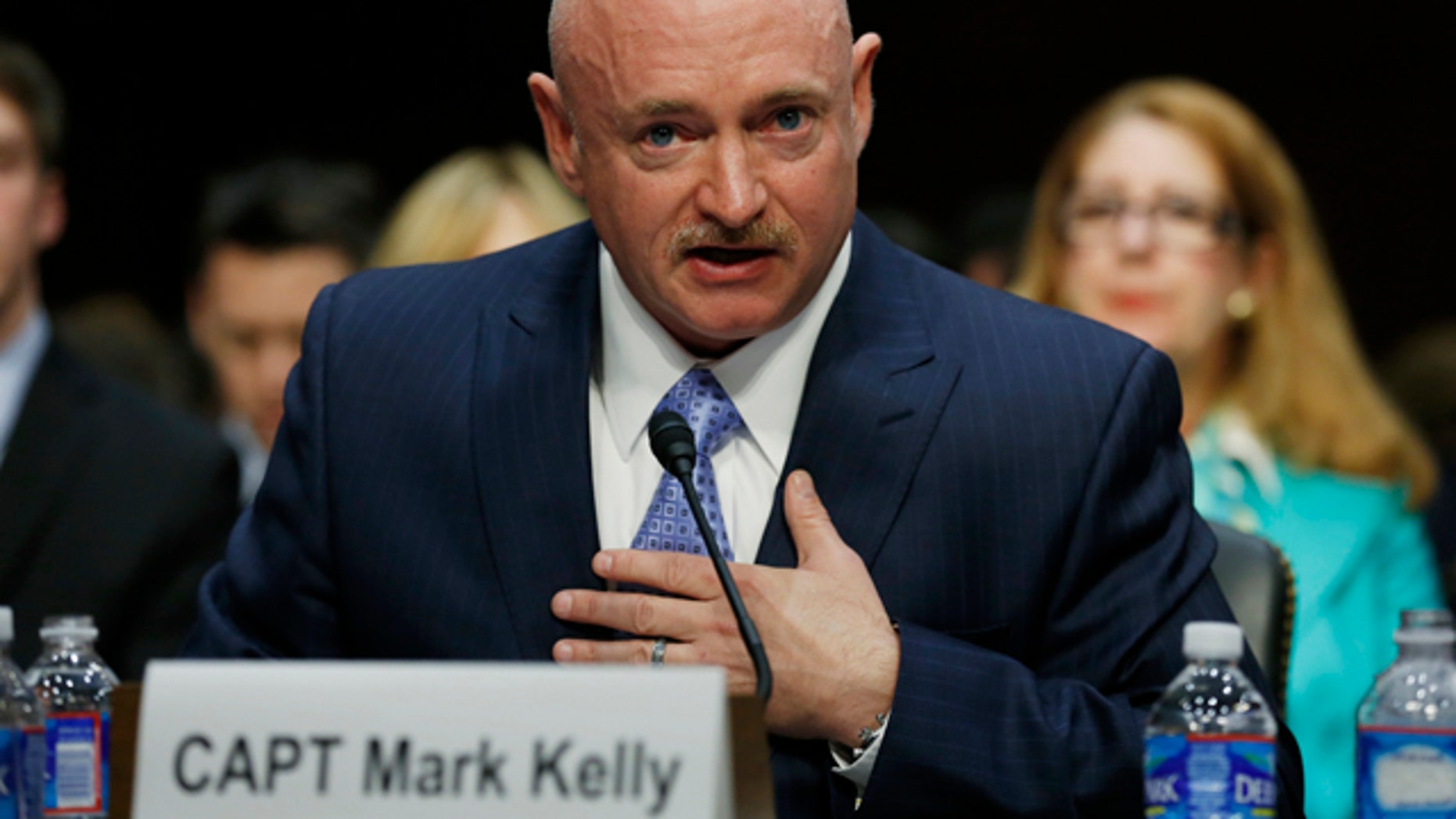 Jan. 30, 2013: Mark Kelly, the husband of former Rep. Gabrielle Giffords, testifies during a hearing held by the Senate Judiciary committee about guns and violence on Capitol Hill in Washington.