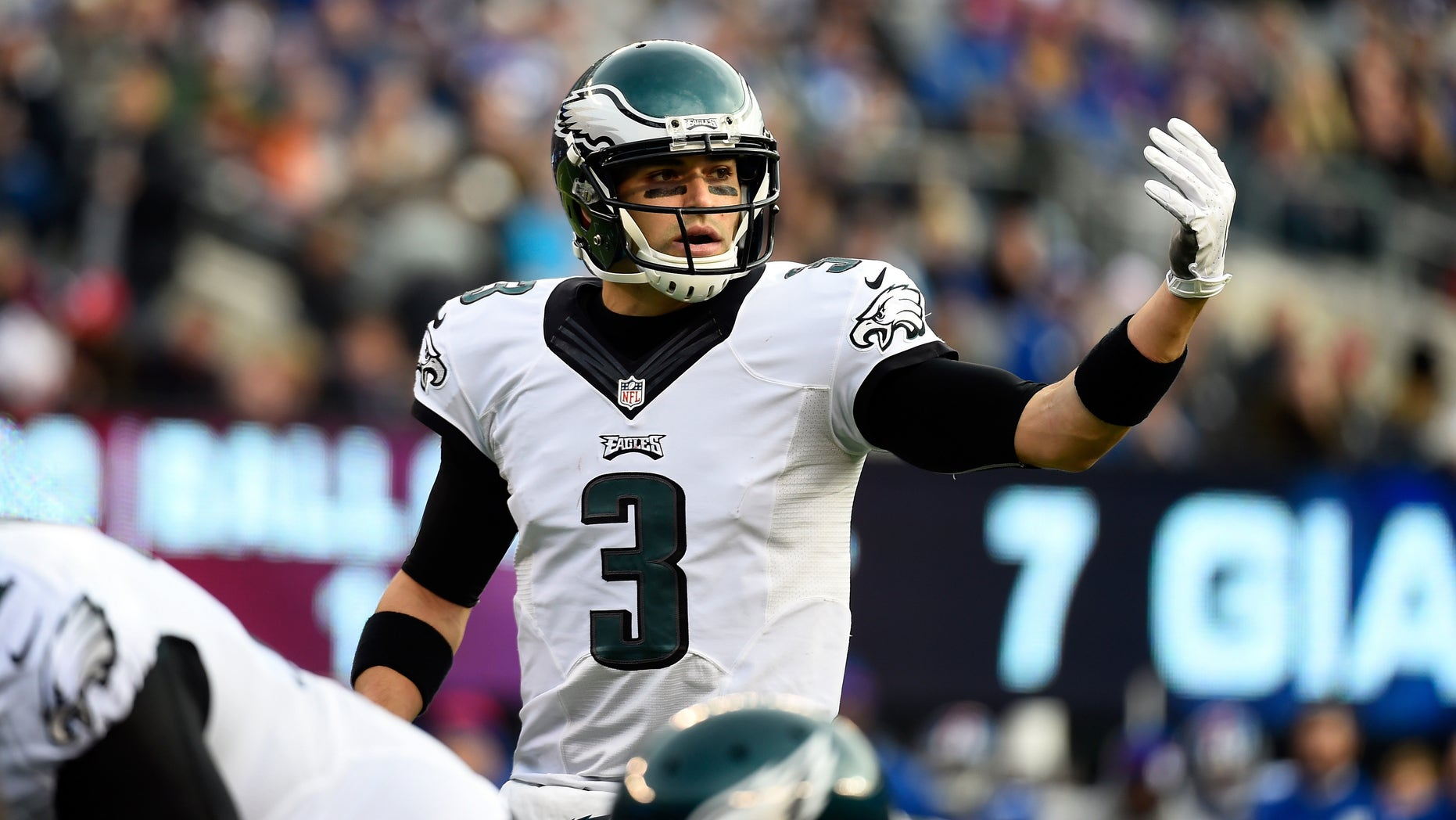 EAST RUTHERFORD, NJ - DECEMBER 28:  Mark Sanchez #3 of the Philadelphia Eagles looks on against the New York Giants during a game at MetLife Stadium on December 28, 2014 in East Rutherford, New Jersey.  (Photo by Alex Goodlett/Getty Images)