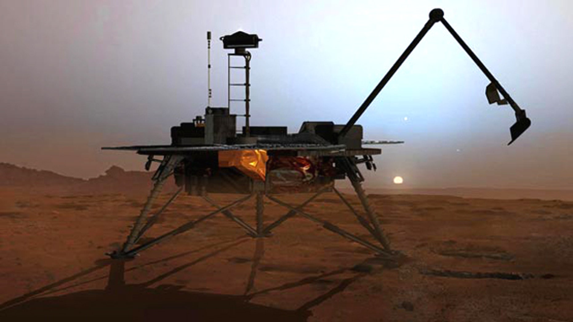 In this artist's concept illustration, NASA's Phoenix Mars Lander begins to shut down operations as winter sets in.