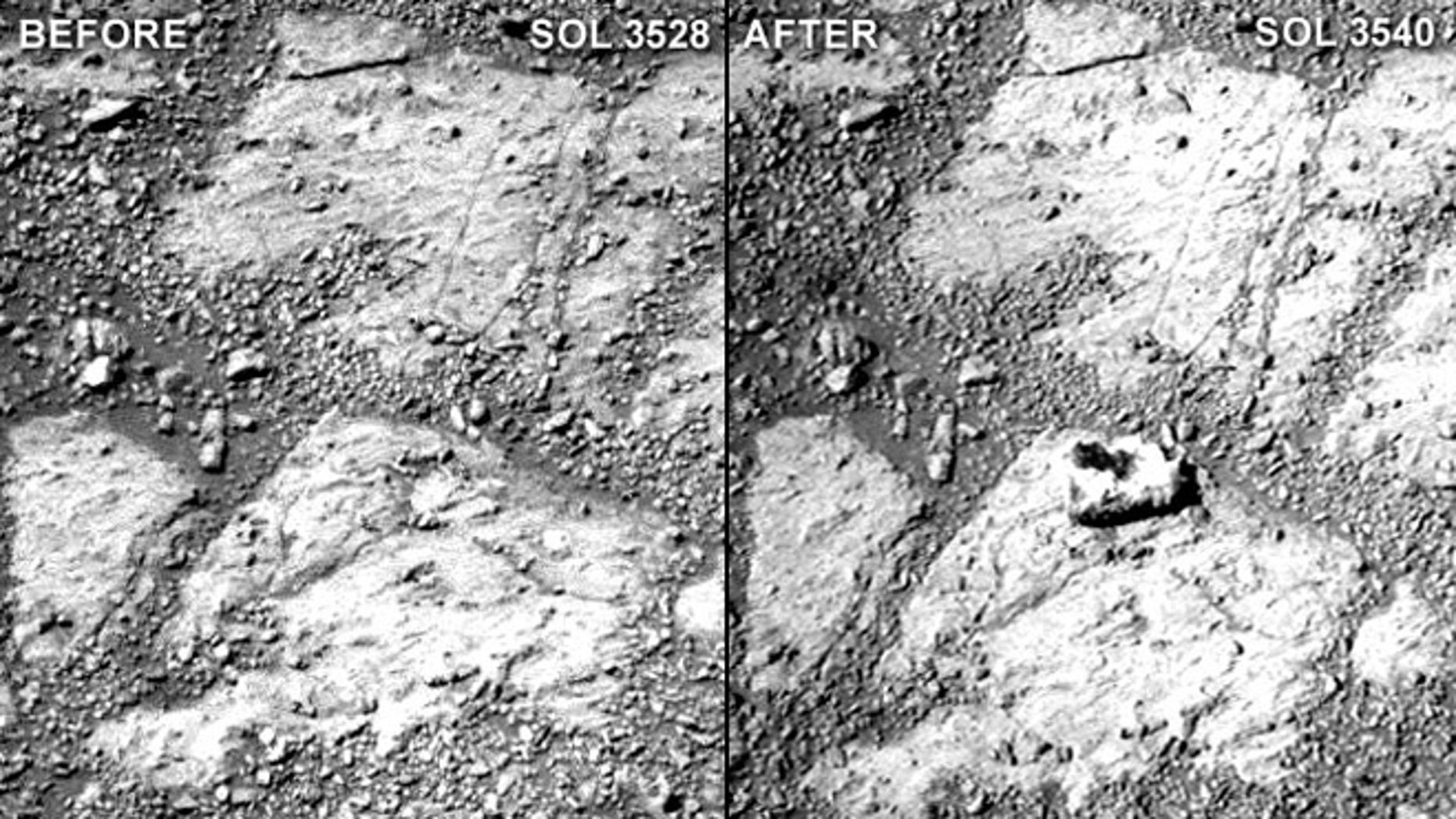 "A comparison of two raw Pancam photographs from sols 3528 and 3540 of Opportunity's mission (a sol is a Martian day). Notice the ""jelly doughnut""-sized rock in the center of the photograph to the right. Minor adjustments for brightness and contrast were made to these images."