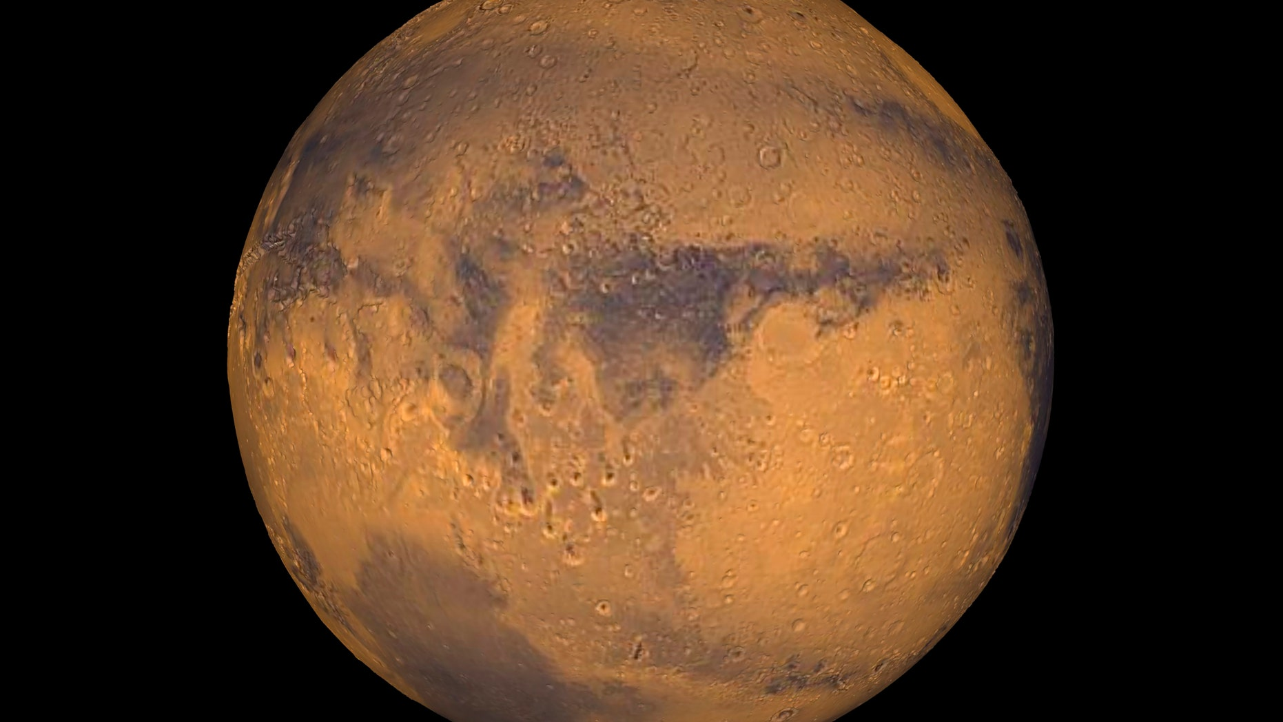 The planet Mars showing showing Terra Meridiani is seen in an undated NASA image.