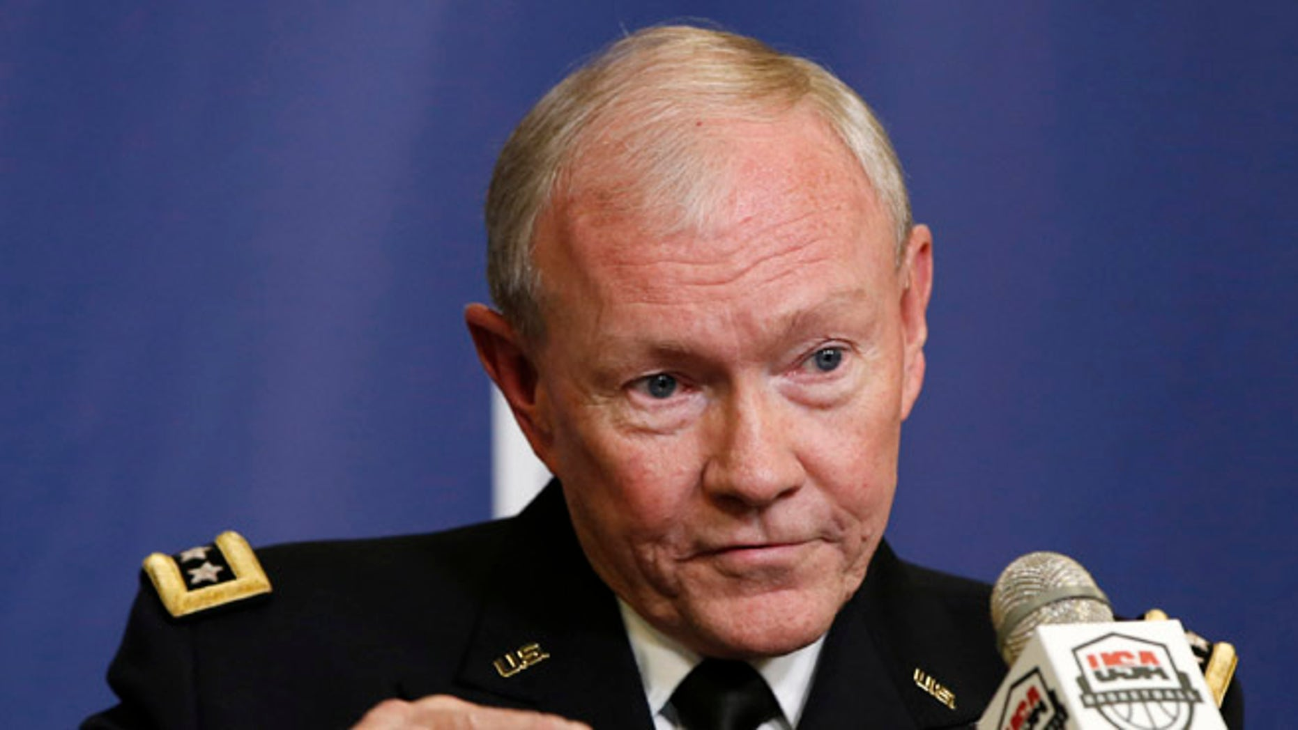 This Aug. 20, 2014 file photo shows Joint Chiefs Chairman Gen. Martin Dempsey speaking at Madison Square Garden in New York.