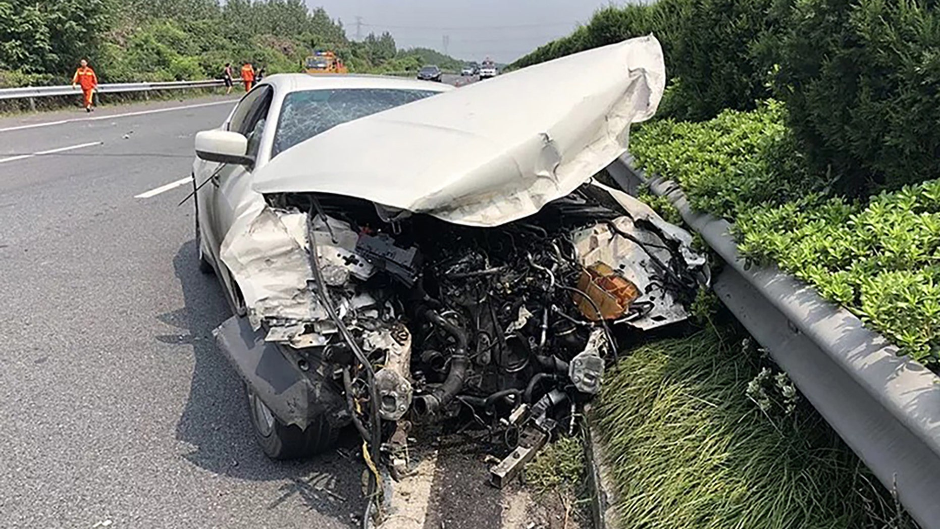 Pic shows: The crashed MaseratiThis is the moment a man writes off a Maserati on a motorway going over 110mph after he borrowed it from a friend.Traffic cameras on the Hangzhou-Pudong Expressway show the driver, surnamed Shi, losing control of the pricey sports car before wrecking it outside of the city of Jiaxing in East China's Zhejiang province.The vehicle, which appears to be a 2016 Maserati Ghibli, was lent to Shi by his friend, who was not present at the time of the accident.CCTV footage shows Shi speeding into view on the largely empty motorway but suddenly veering wildly to the right of the expressway before slamming into the crash barriers.Images show the front and side of the Maserati completely destroyed and the airbags having been deployed.Jiaxing traffic police said several dozen feet of the crash barrier were also damaged during the accident, which fortunately involved no other cars.The authorities said they immediately tracked down Shi's contact information and asked him as well as his two passengers to seek shelter by the roadside in order to avoid a secondary accident.Shi admitted to investigators that he had been speeding at the time of the crash, going up to 180 kph (111 mph) in a 120-kph (75-mph) zone.Jiaxing police said they had no reason to doubt Shi's speeding claims, but they would confirm following an independent investigation.Shi and his two passengers survived without serious injury thanks to their seat belts, reports said.It has since been revealed that the owner of the car paid over 1 million RMB (112,651 GBP) for the Maserati after tax.The car's insurer is not expected to pay out in full due to the unlawful cause of the accident, the police said.