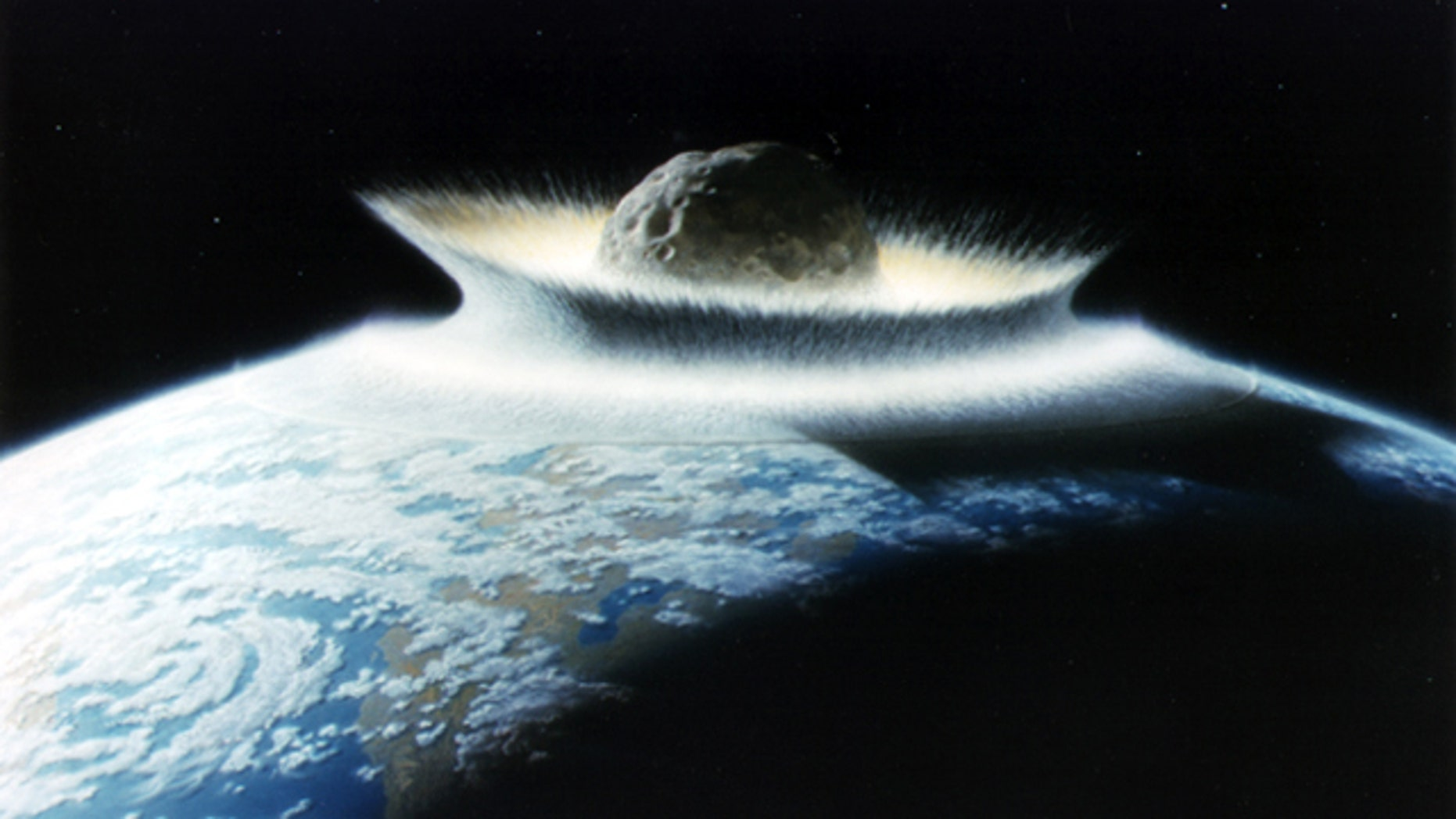 A NASA artist's concept of a catastrophic asteroid impact with the Earth.