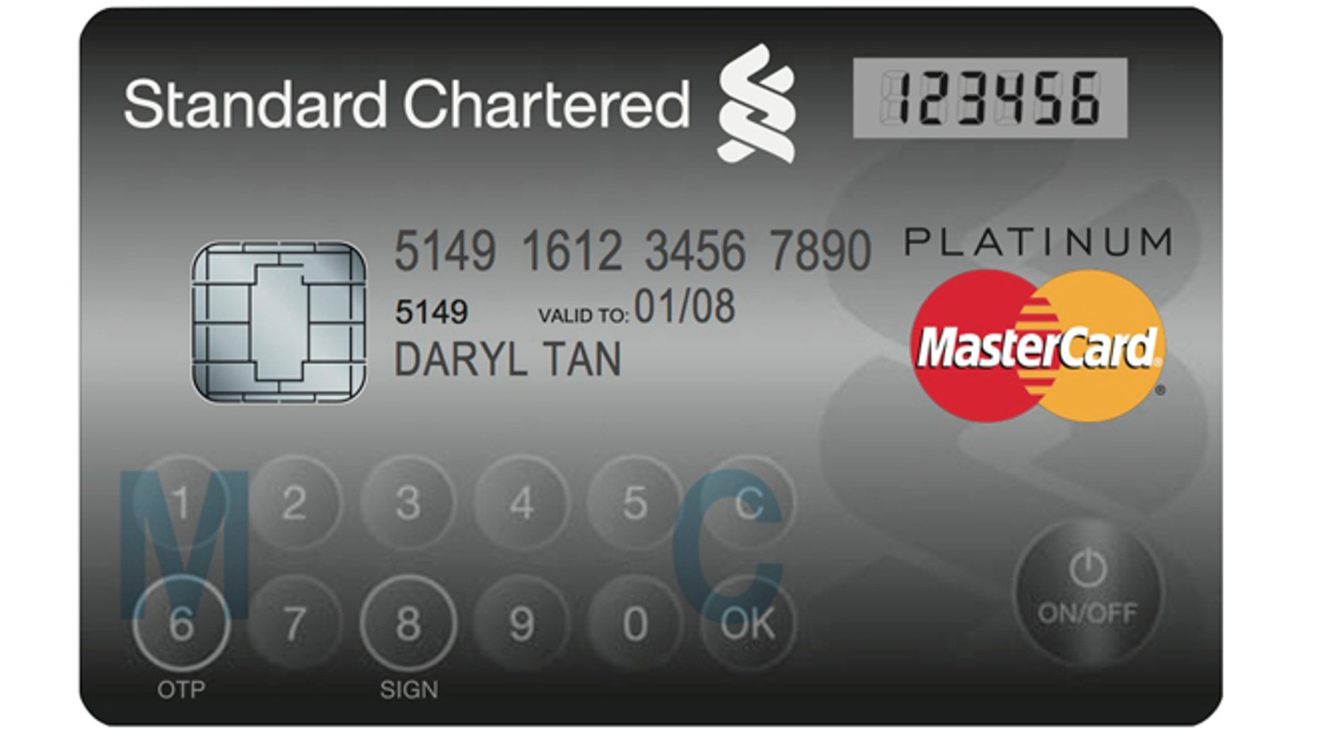 Nov. 6, 2012: The MasterCard Display Card, manufactured by NagraID Security, looks and functions almost exactly like a regular credit card but features an embedded LCD screen and touch-sensitive buttons.