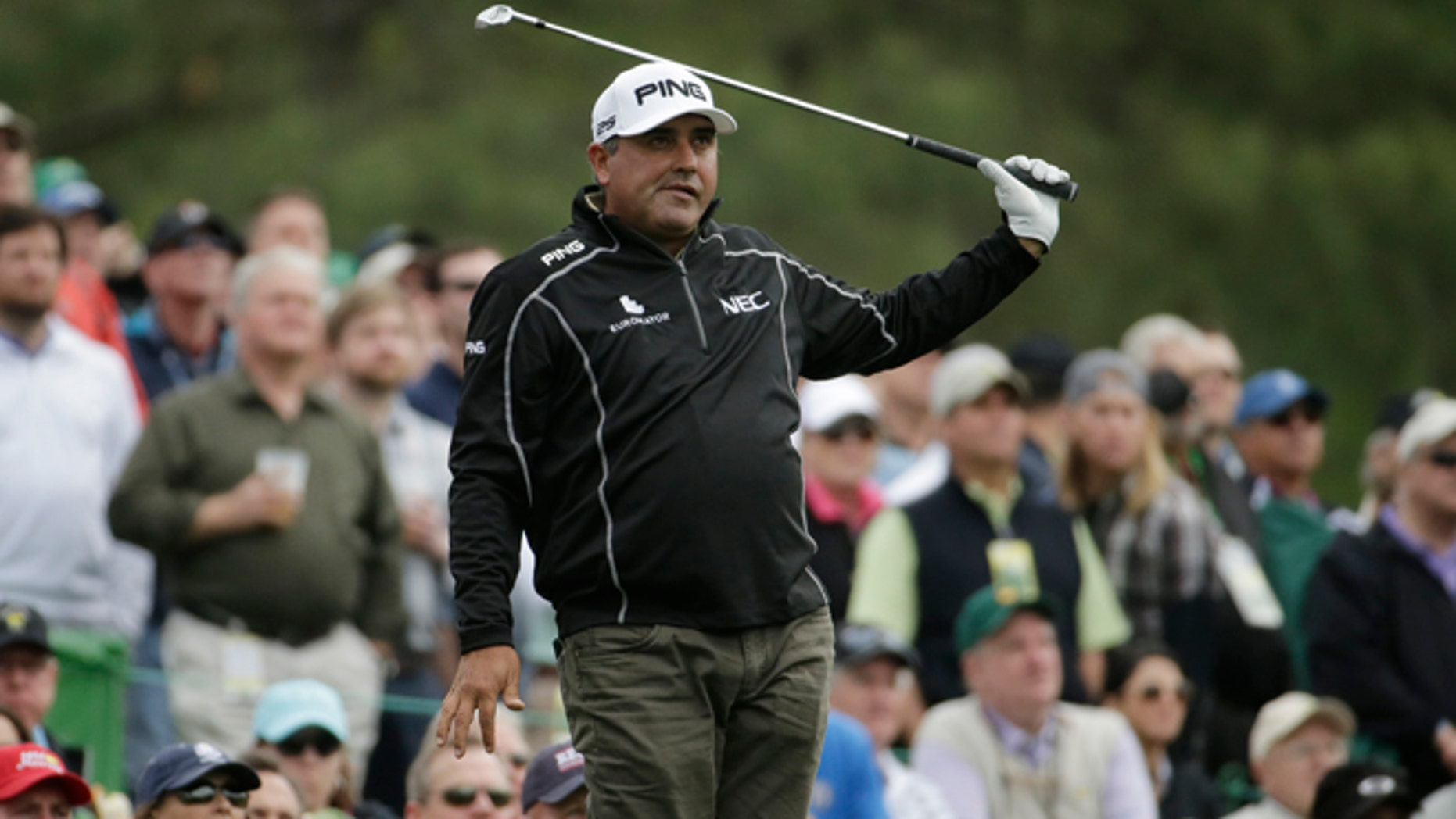Angel Cabrera during a practice round for the Masters golf tournament, on April 8, 2014, in Augusta, Ga.