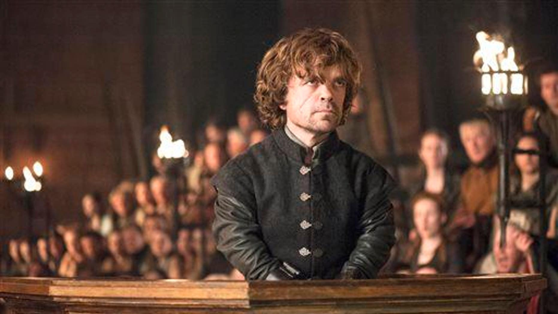 """Peter Dinklage as Tyrion Lannister in a scene from season 4 of """"Game of Thrones."""""""