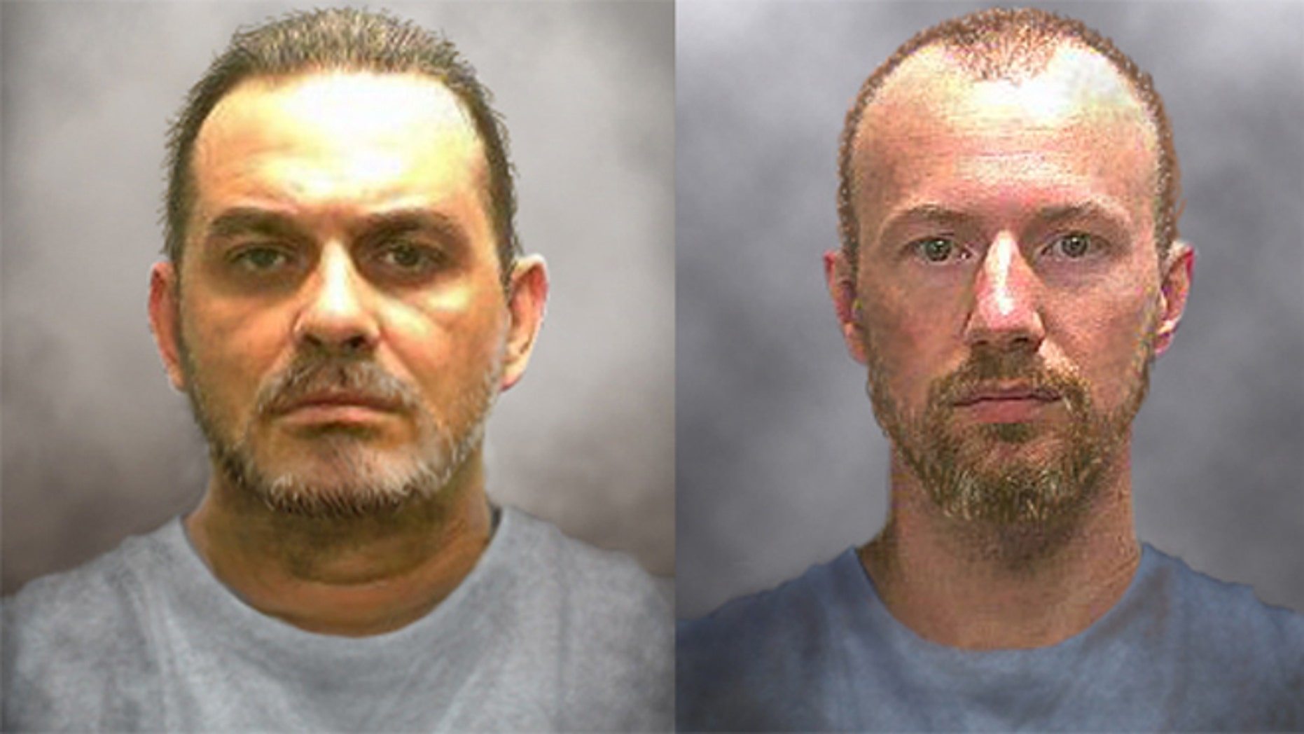 Authorities released time-progressed photos of what escaped inmates Richard Matt, left, and David Sweat, right, might look like after 10 days on the run.