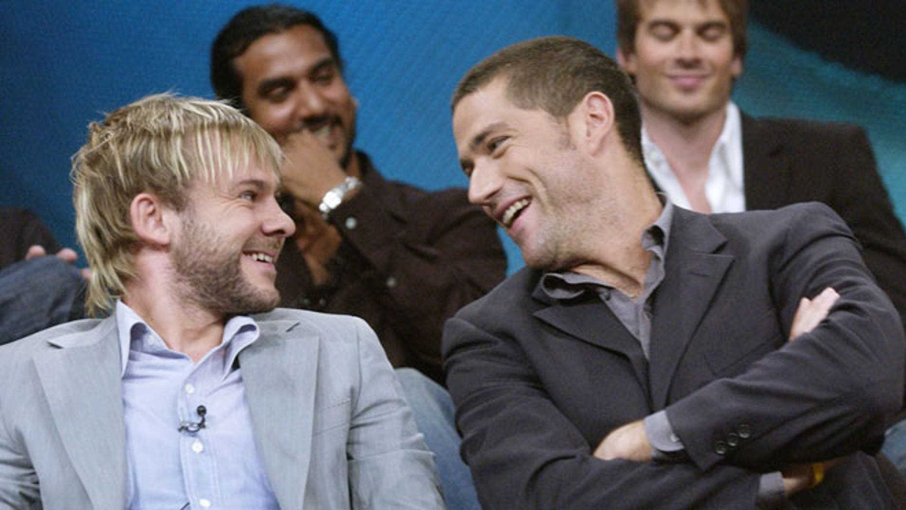 """Dominic Monaghan and Matthew Fox during a """"Lost"""" press tour in 2004."""