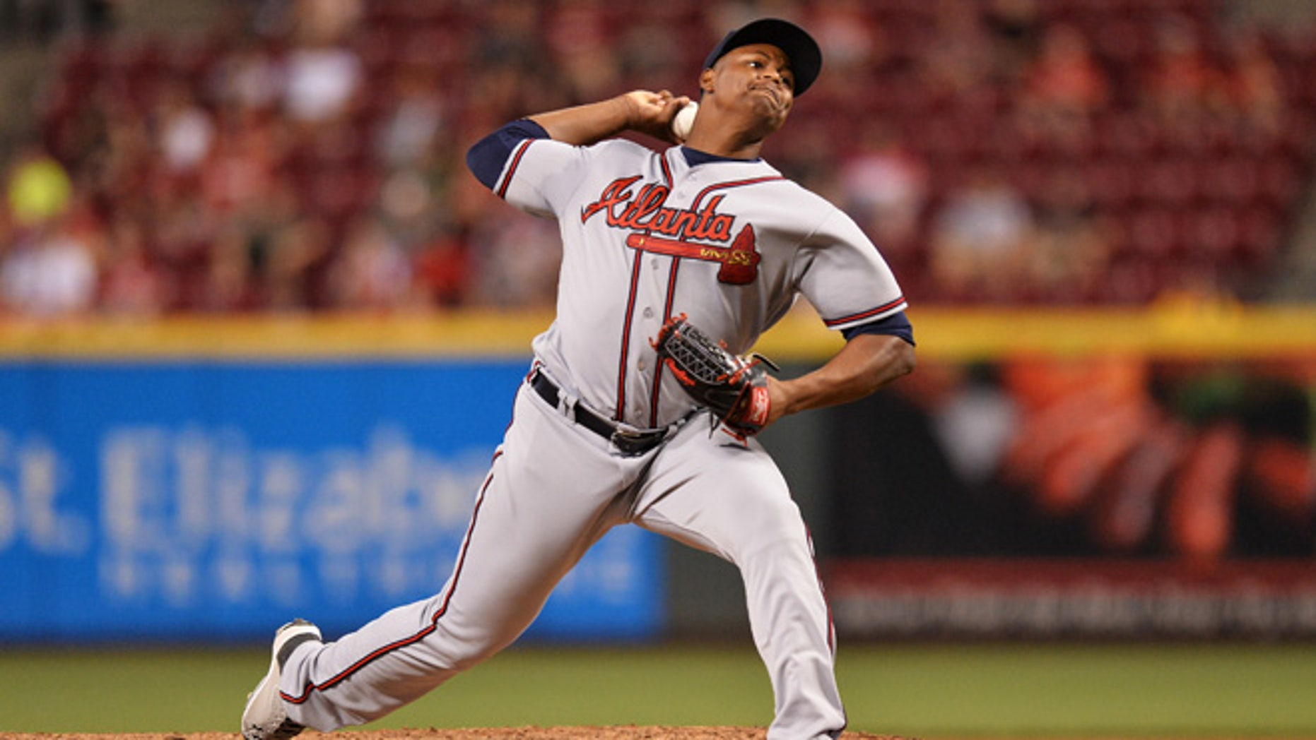 Mauricio Cabrera #62 of the Atlanta Braves on July19, 2016 in Cincinnati, Ohio.