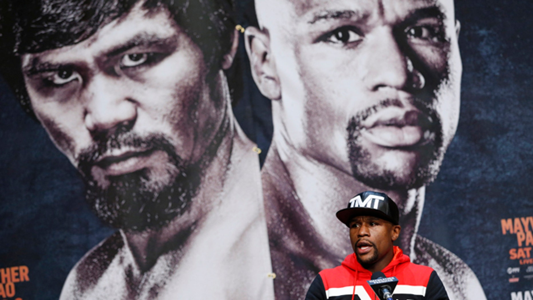 Boxer Floyd Mayweather Jr. speaks during a press conference Wednesday, April 29, 2015, in Las Vegas.