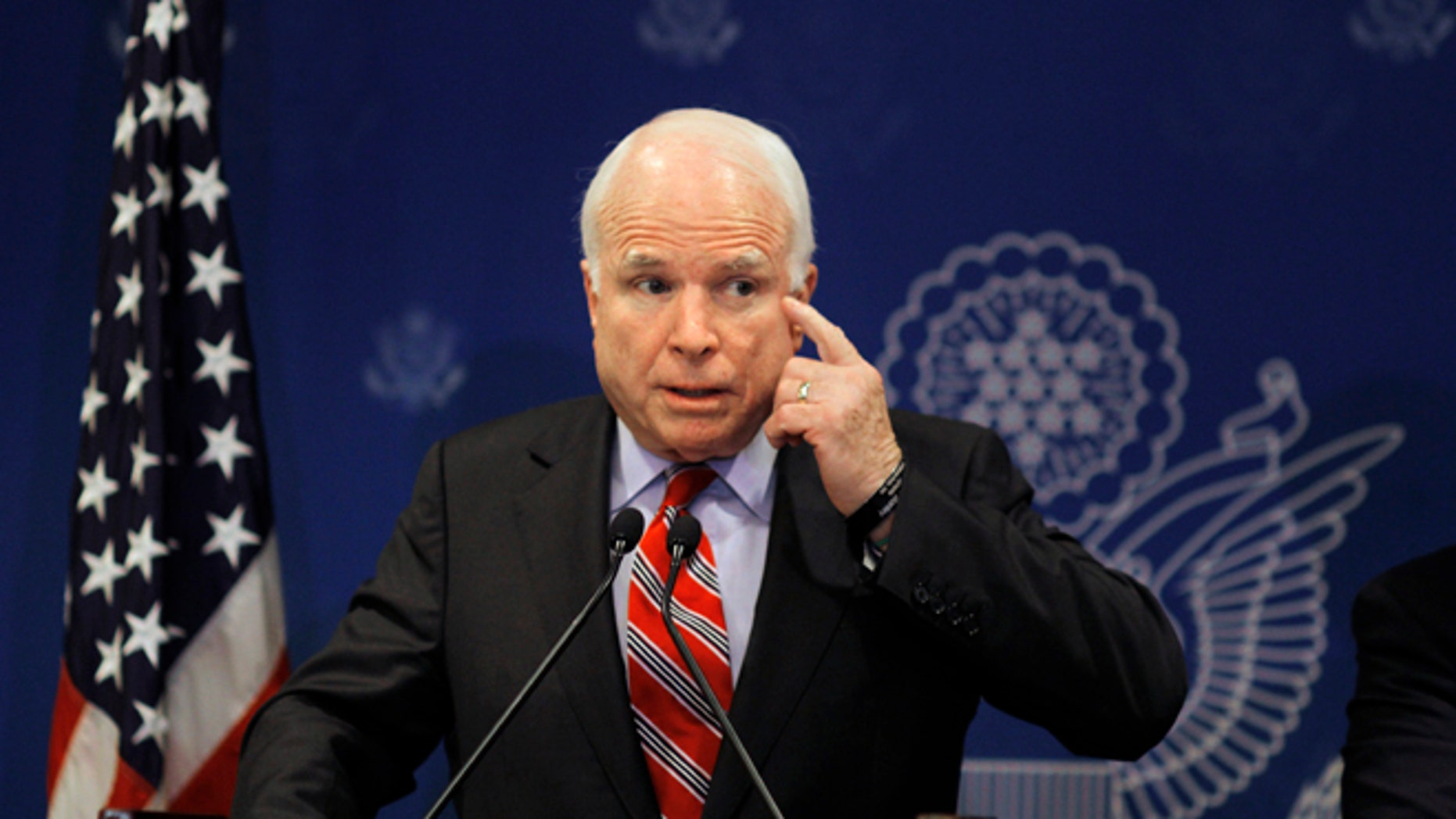 FILE: Aug. 6, 2013: GOP Arizona Sen.John McCain talks at a press conference in Cairo, Egypt.